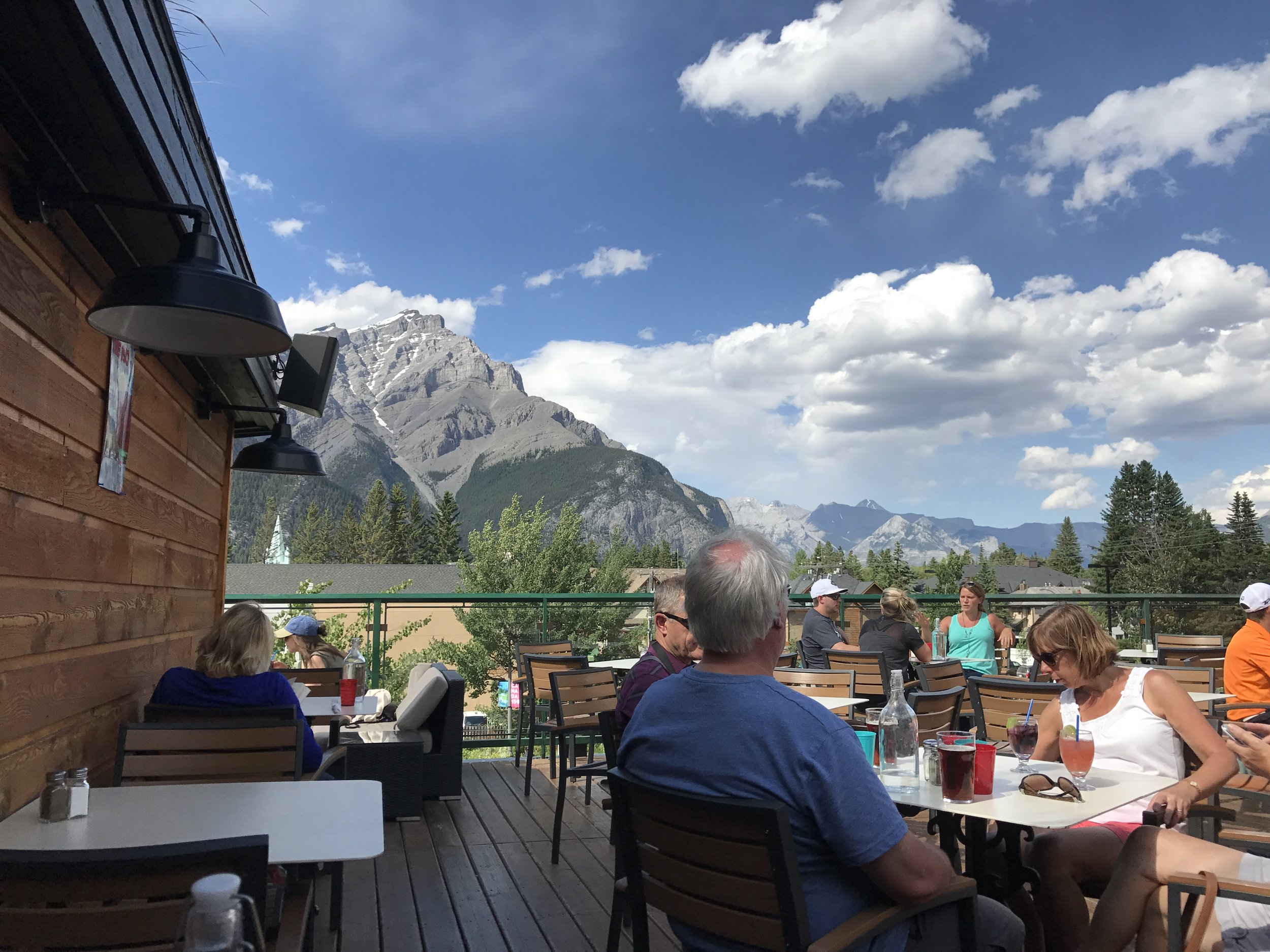 View from my table at the Crown and Rose Pub in the City of Banff.