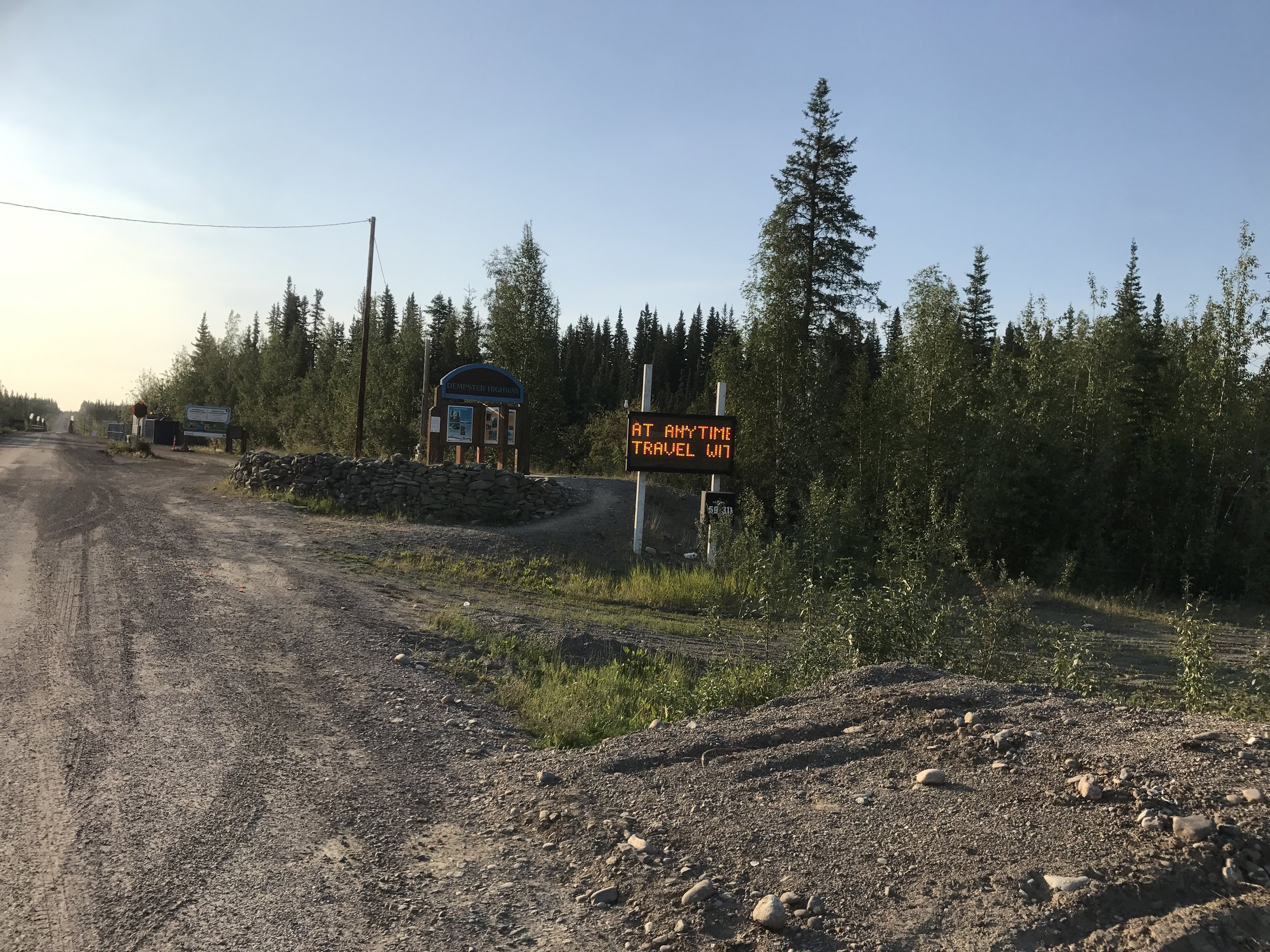 Sign at the beginning of the Dempster Highway.