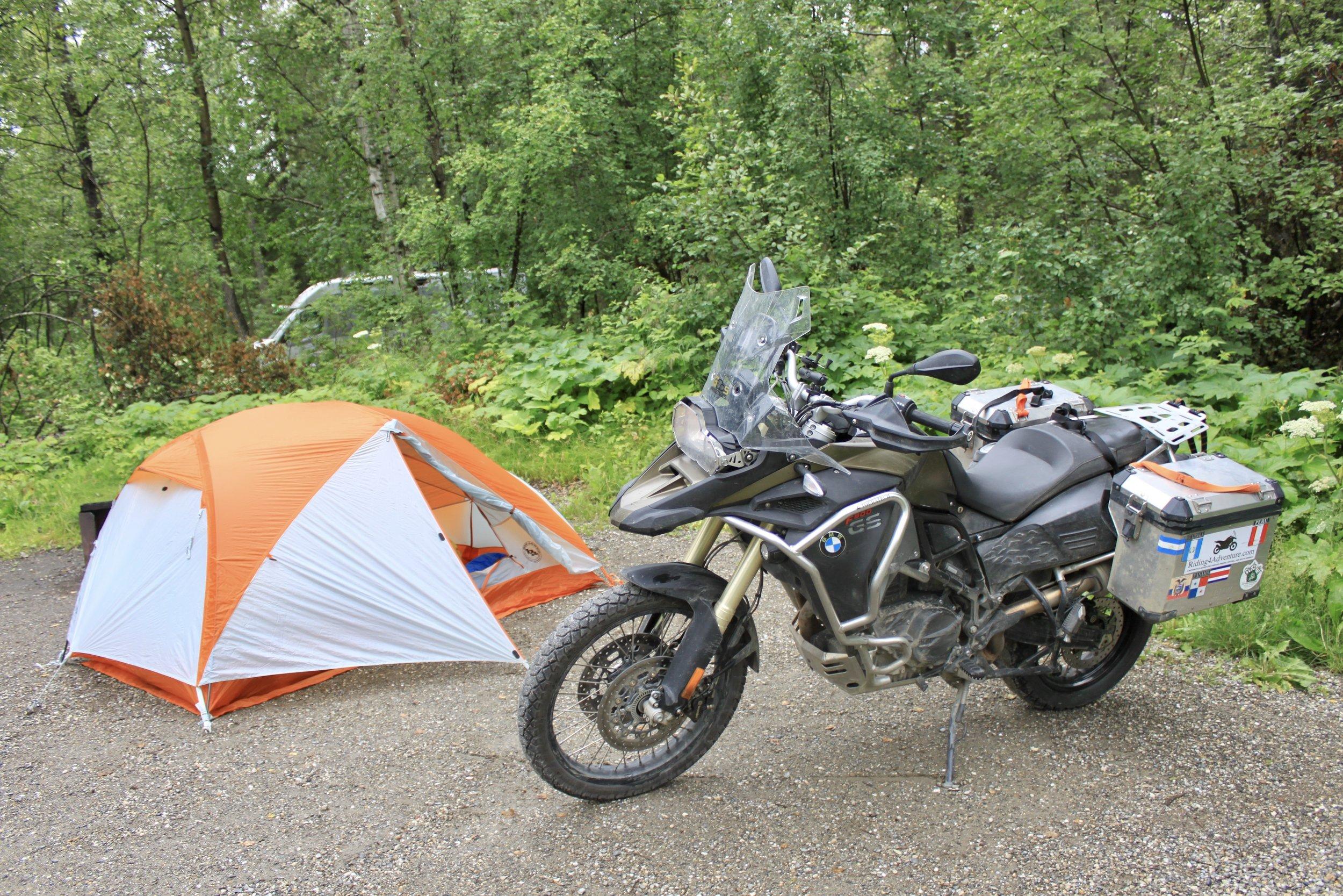 Camping at Liard River Hot Springs.