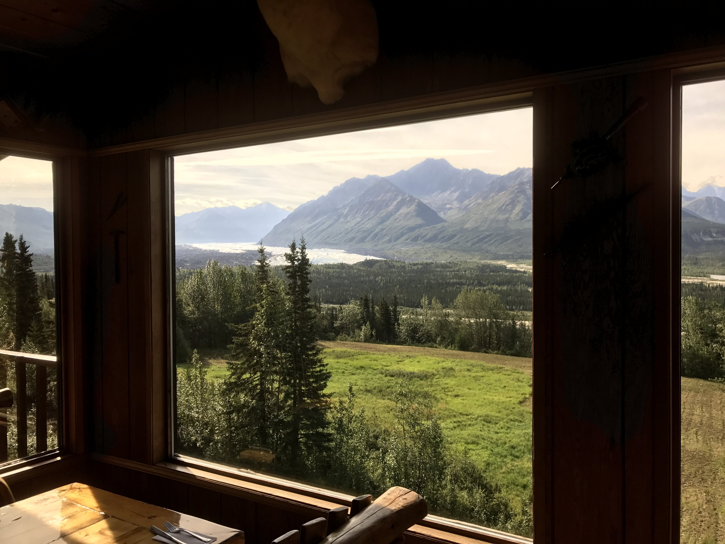 View out the lodge window at the glacier.