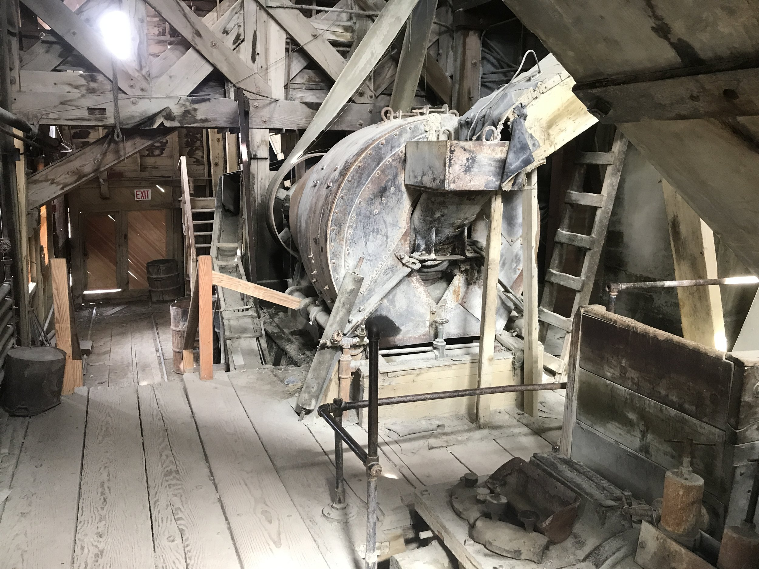 An ore crusher used to grind lower grade ore for further processing. However, some of the ore was so high grade that it needed no processing. Our guide said that high grade ore from the mines was sometimes over 60% copper.