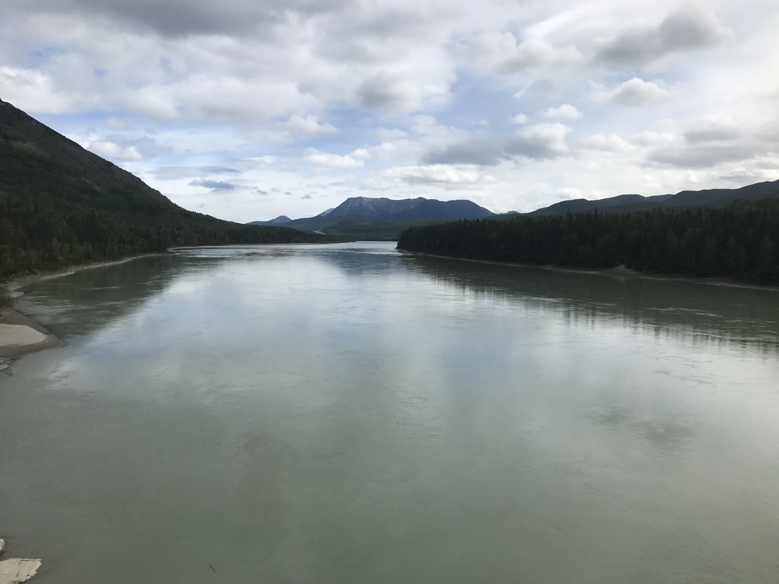 The Liard River, which is within walking distance of the campgrounds.