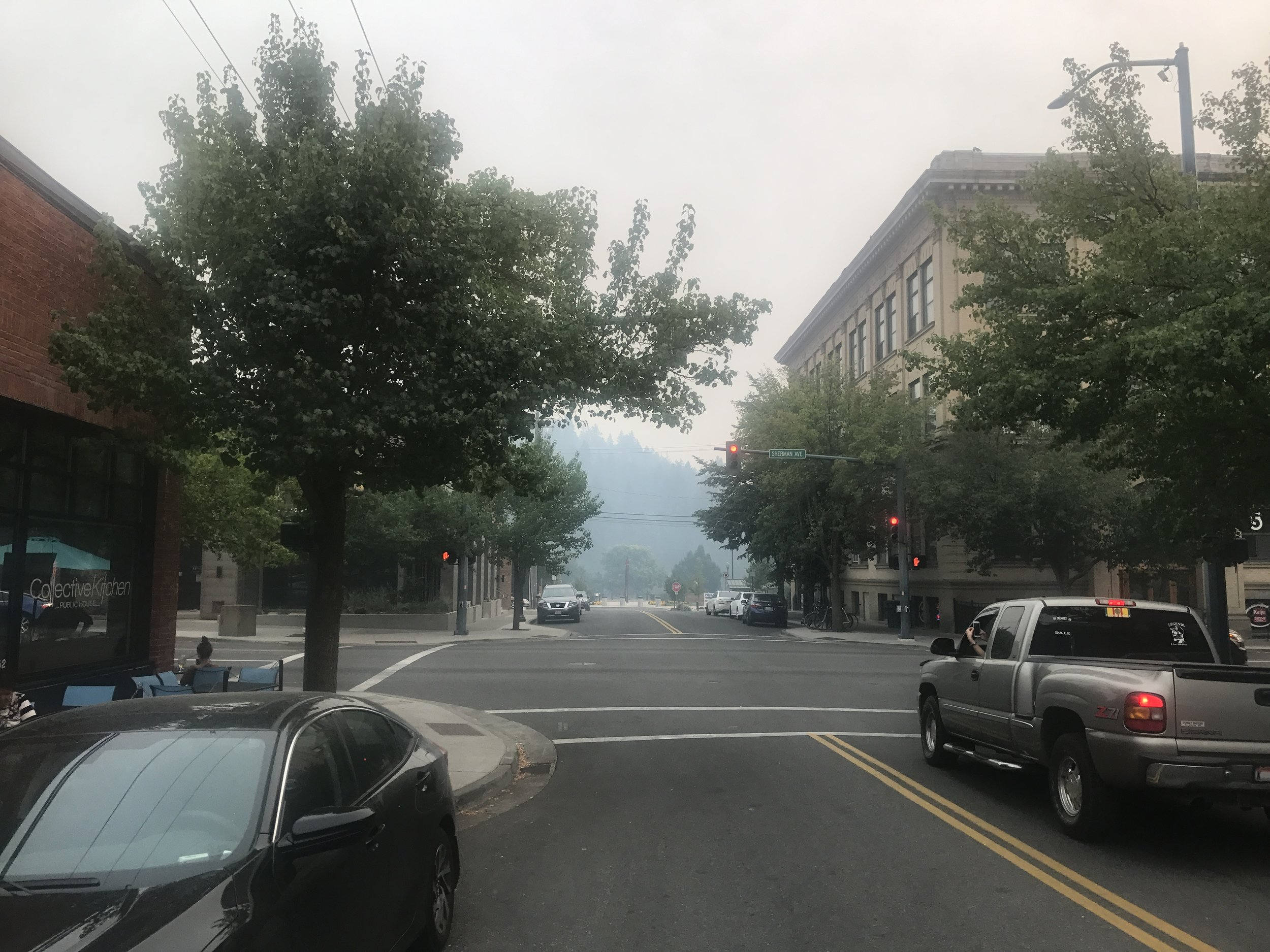 Street in Coeur D'Alene where the smoke was clearly visible.