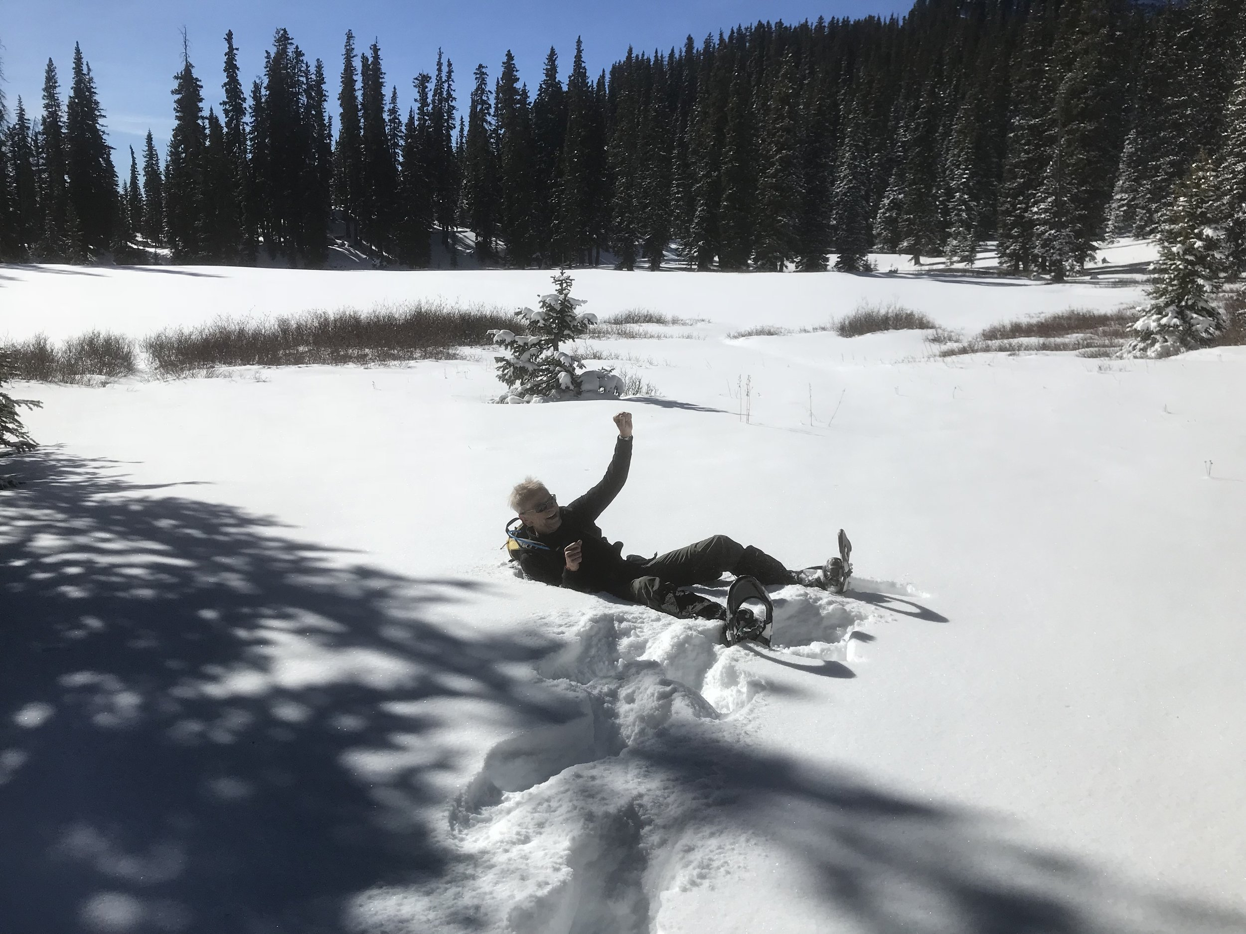 As a novice, I quickly learned that turning around is not so easy with snowshoes on.