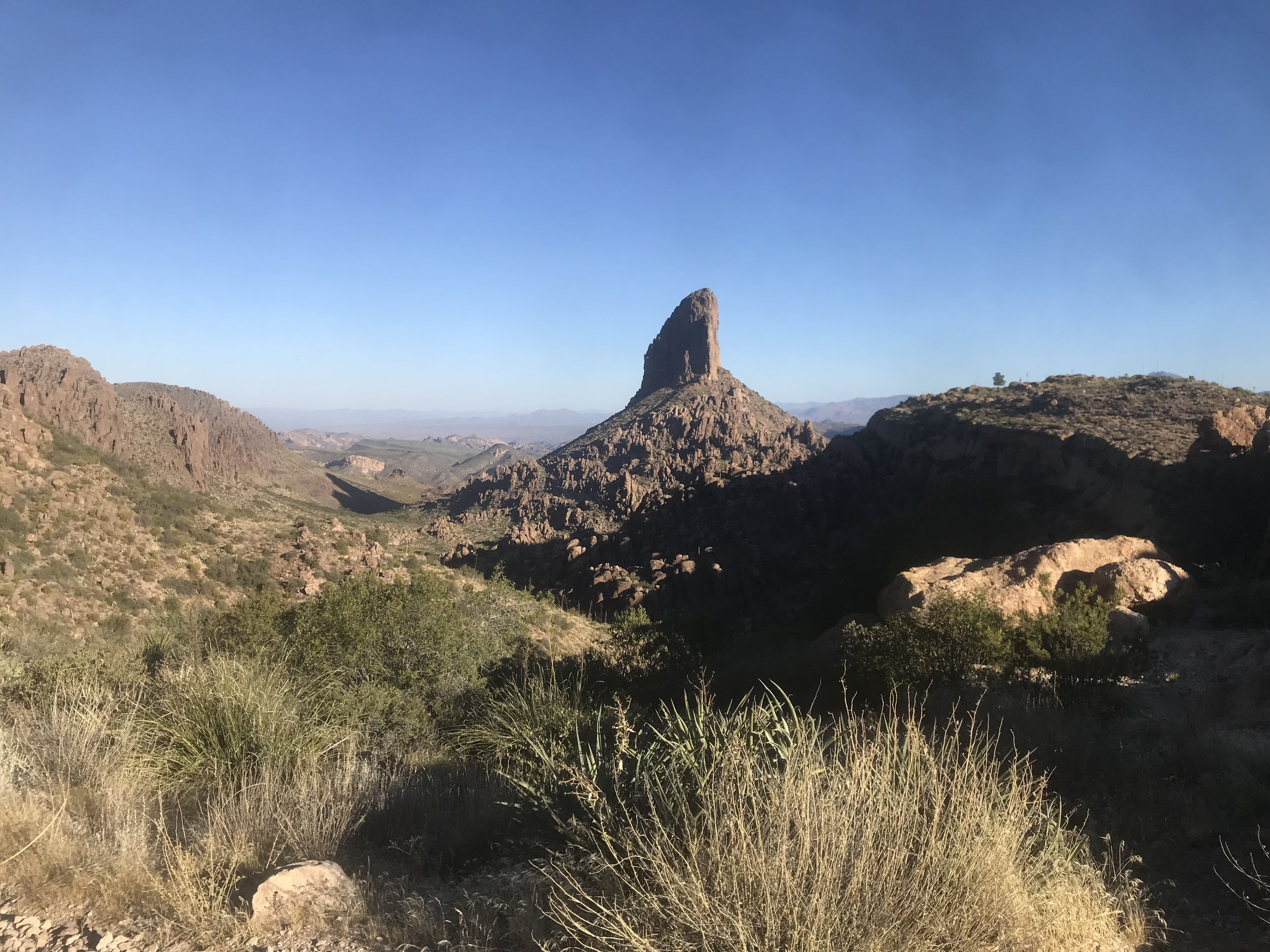 Hiking with Alex in the Superstition Wilderness. Photo of Weaver's needle.