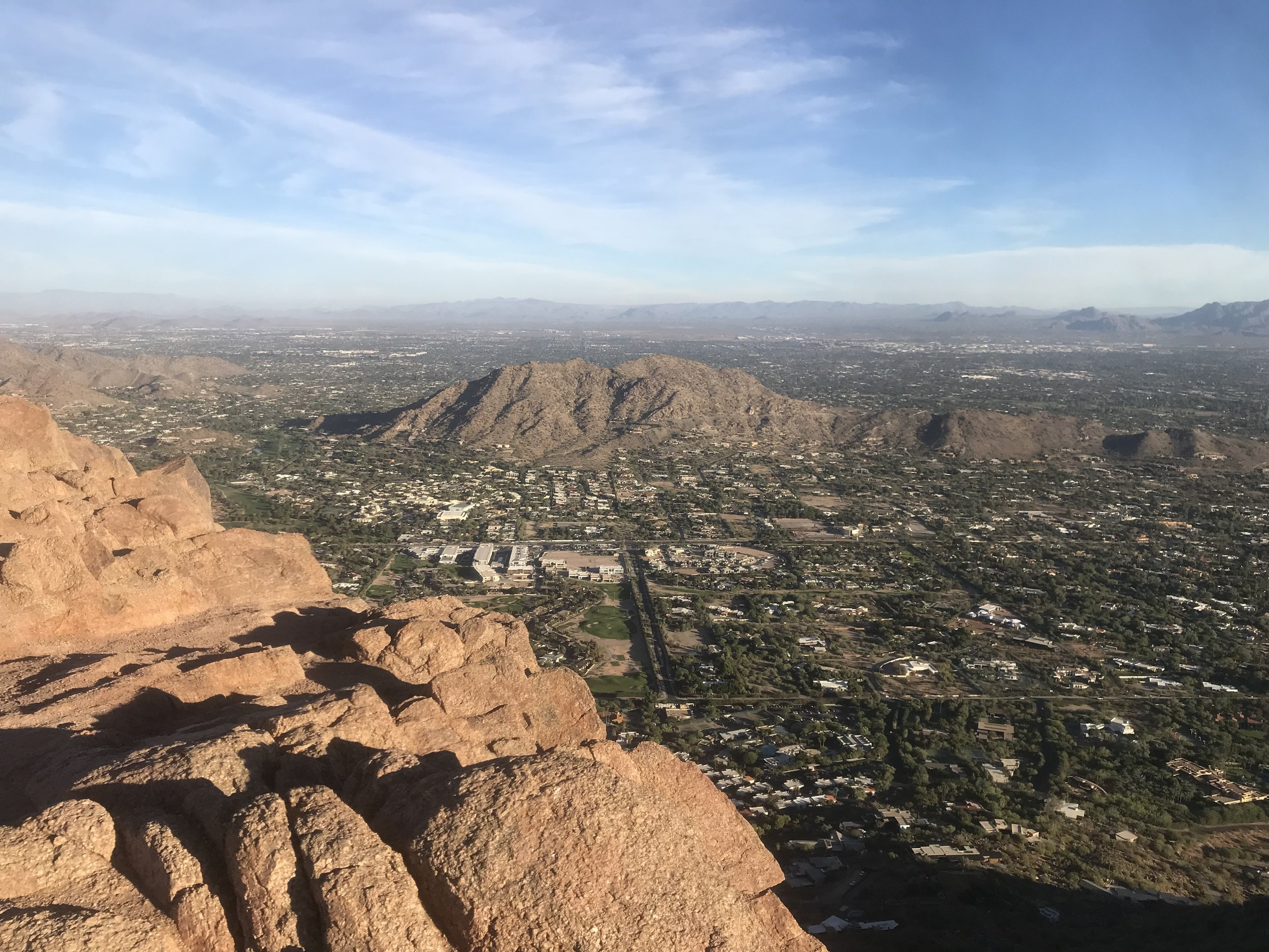 Hike to the top of Camelback Mountain. Photo from the top of Paradise Valley.