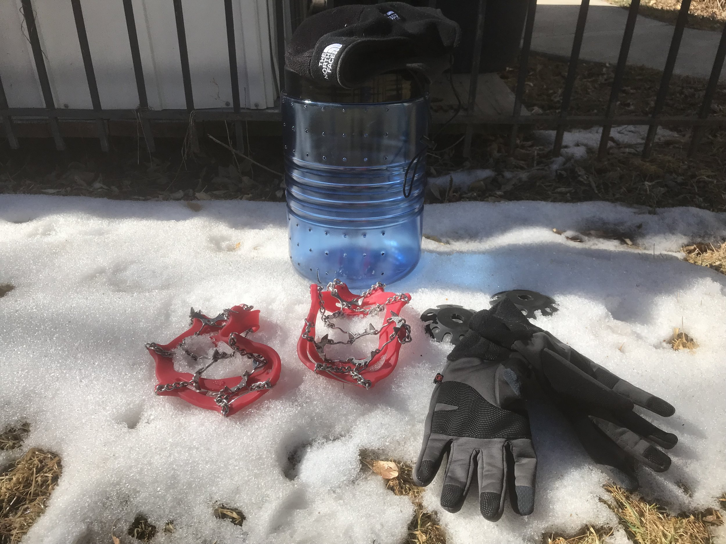 Bear canister, crampons and snow feet needed for the high country in California.