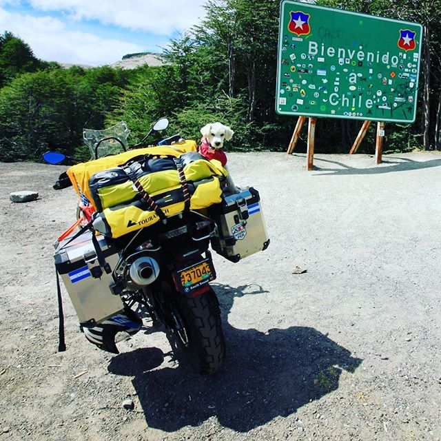 Suri (now a member of the @k9monkeys crew) and I crossed another border. . #advrider #f800gsa #riding4adventure #bmwmotorrad #chile #argentina #bordercrossing #chileargentina #chileargentinaborder #makelifearide