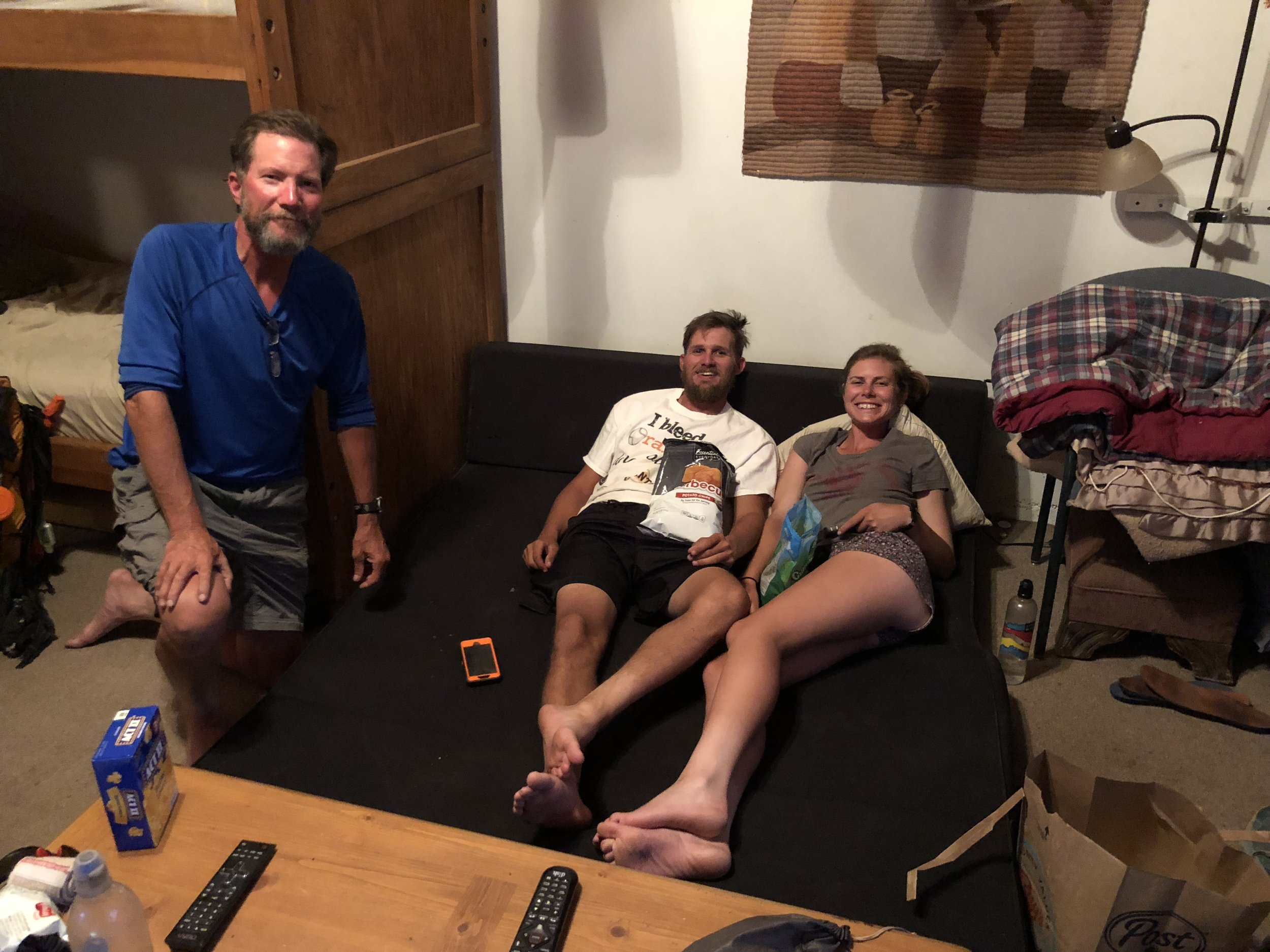 Hikers at hostel in Etna