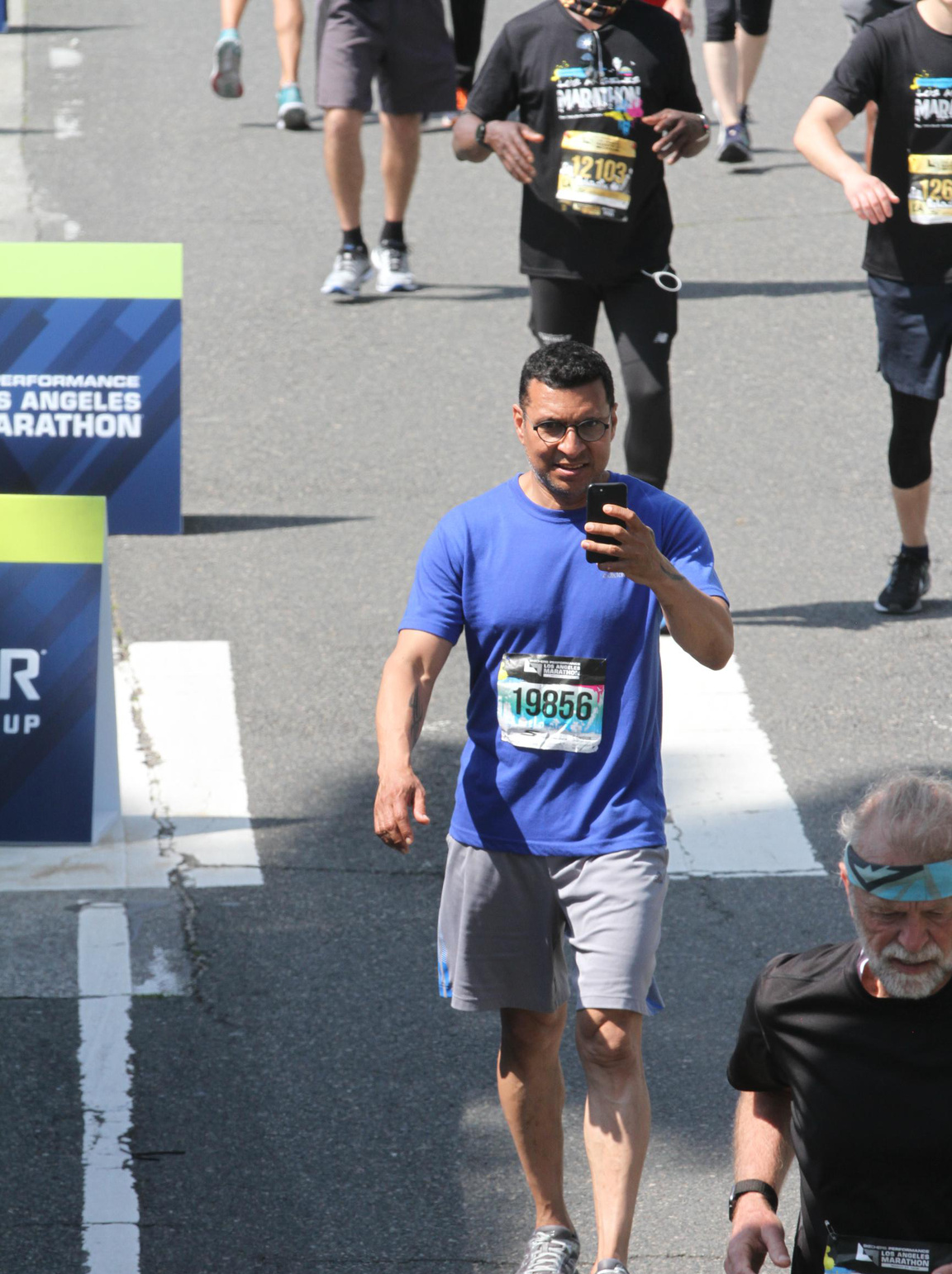 Omar filming me as I crossed the finish line.