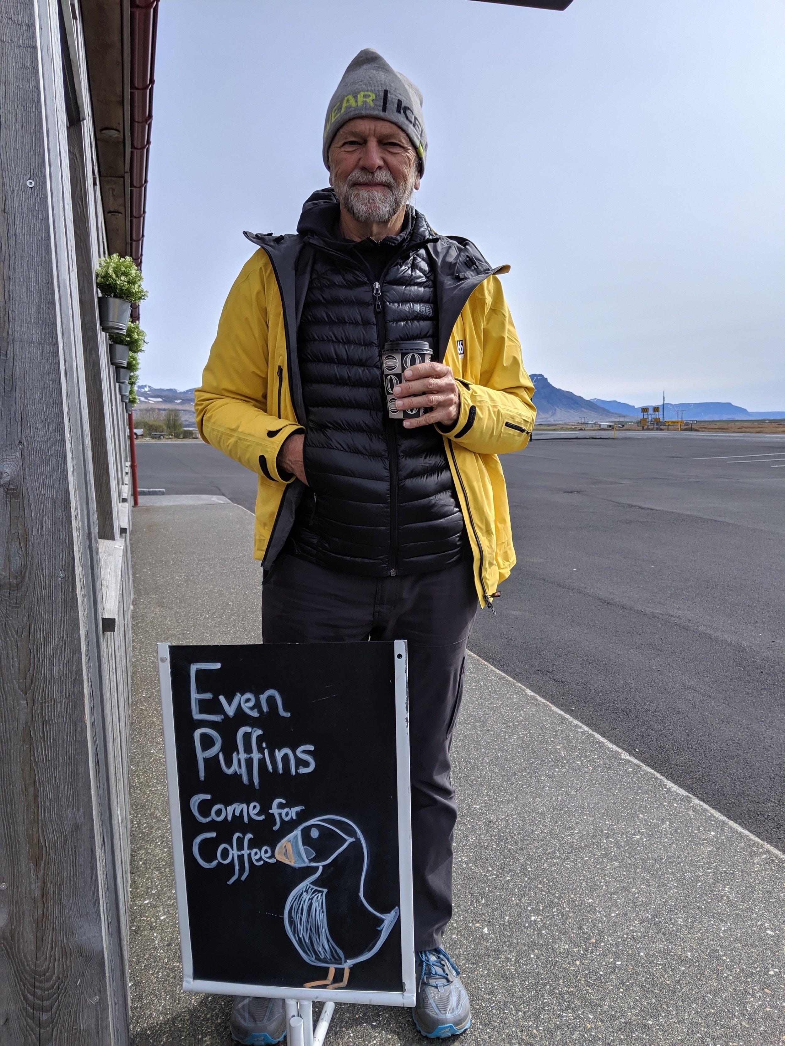 In our quest to find puffins we stopped at every location where there had been reported sightings. This one proved to be a bust, but the coffee was good.