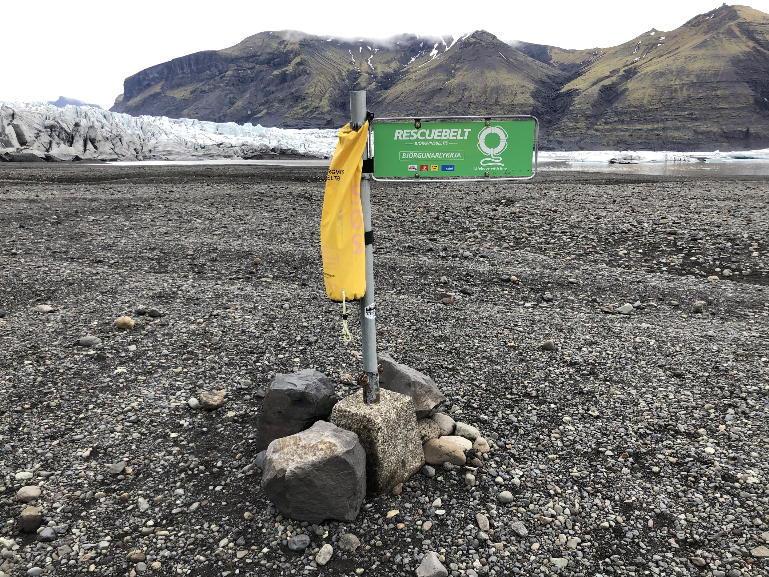 A rescue buoy to save the life of someone foolish enough to take a swim in a glacial lake.
