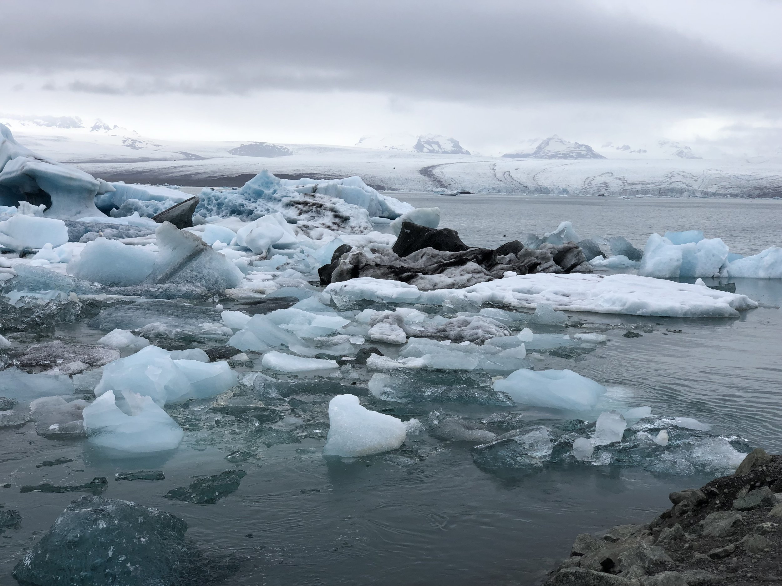 Icebergs floating in a glacial lake.