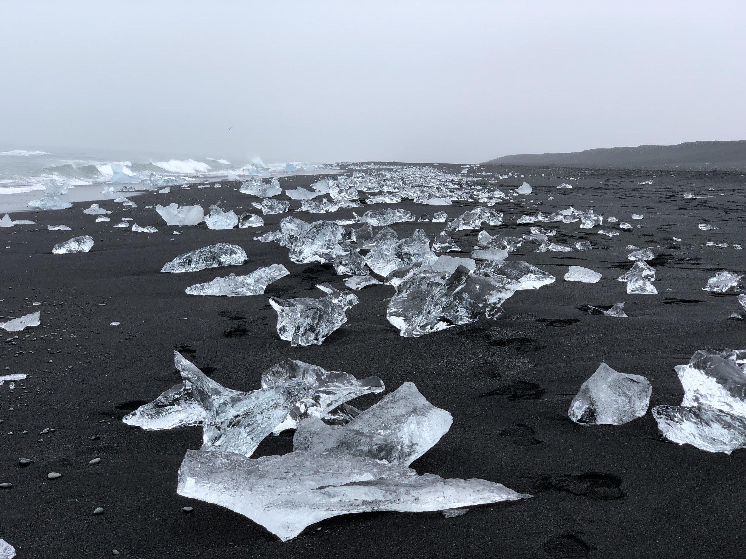 Diamond Beach where large clear ice crystals rest on the black sand.