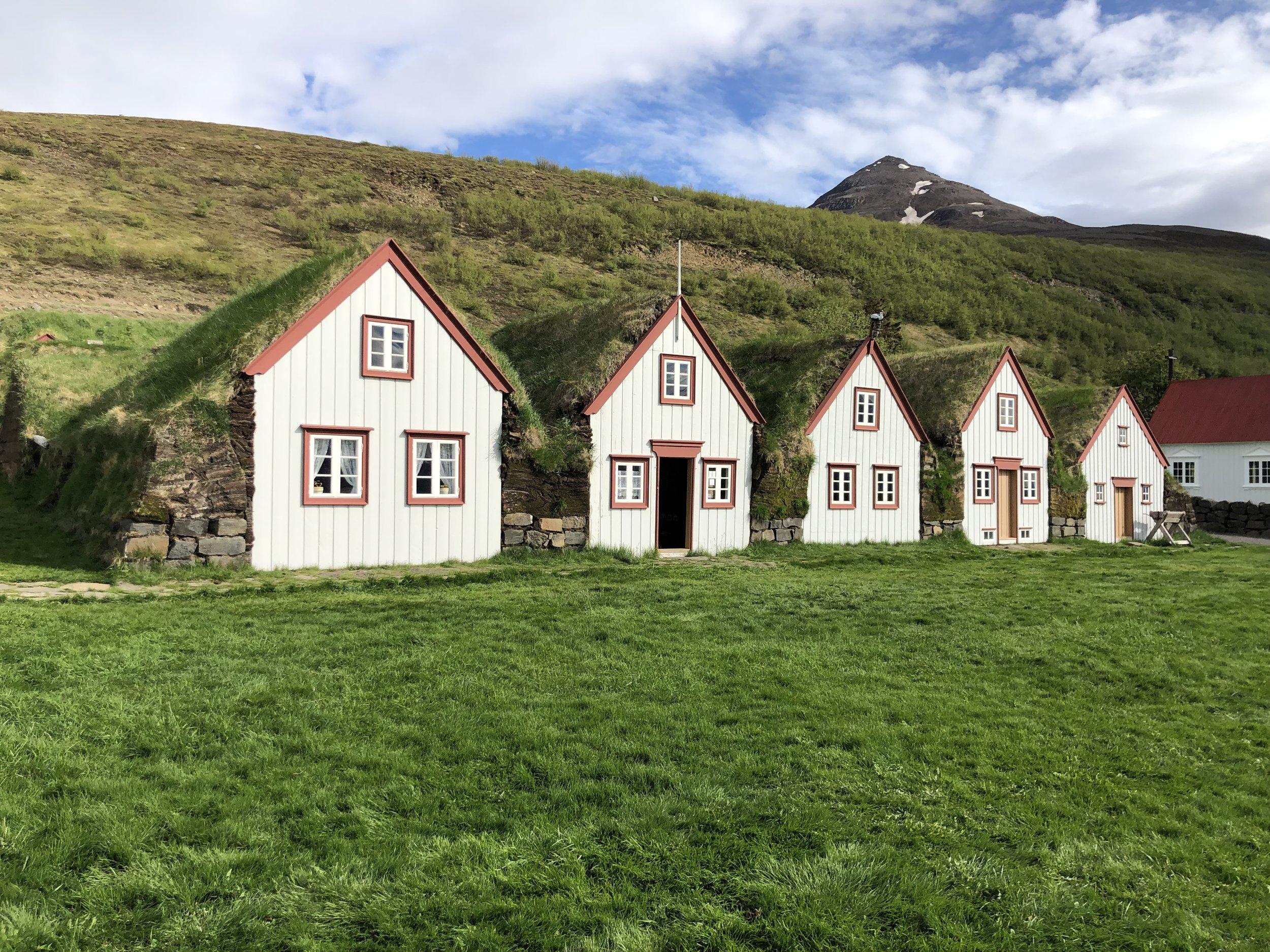 Traditional Icelandic sod houses.