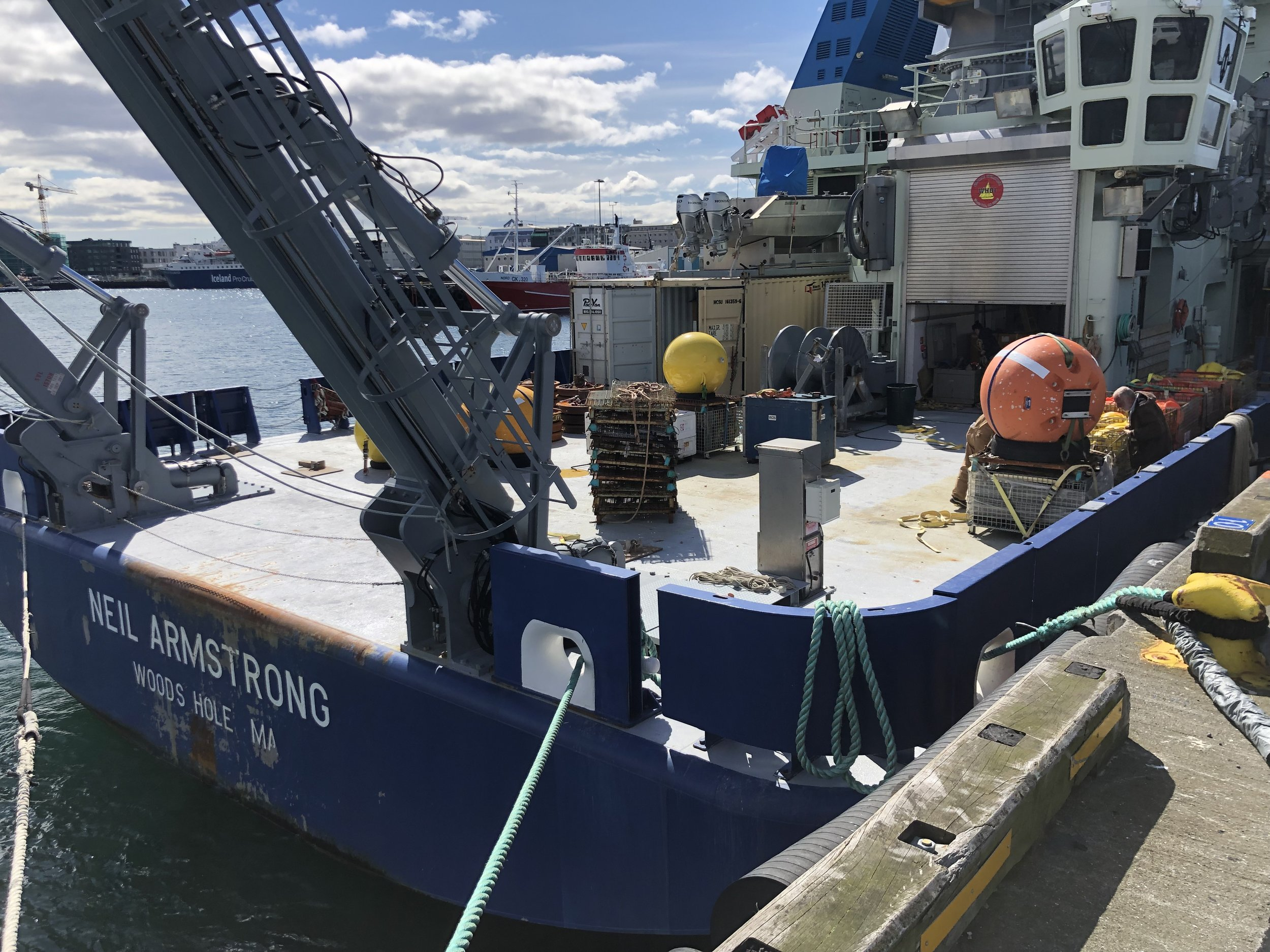 The crew told us they were sailing the waters near Iceland studying the effect climate change has had on ocean currents.