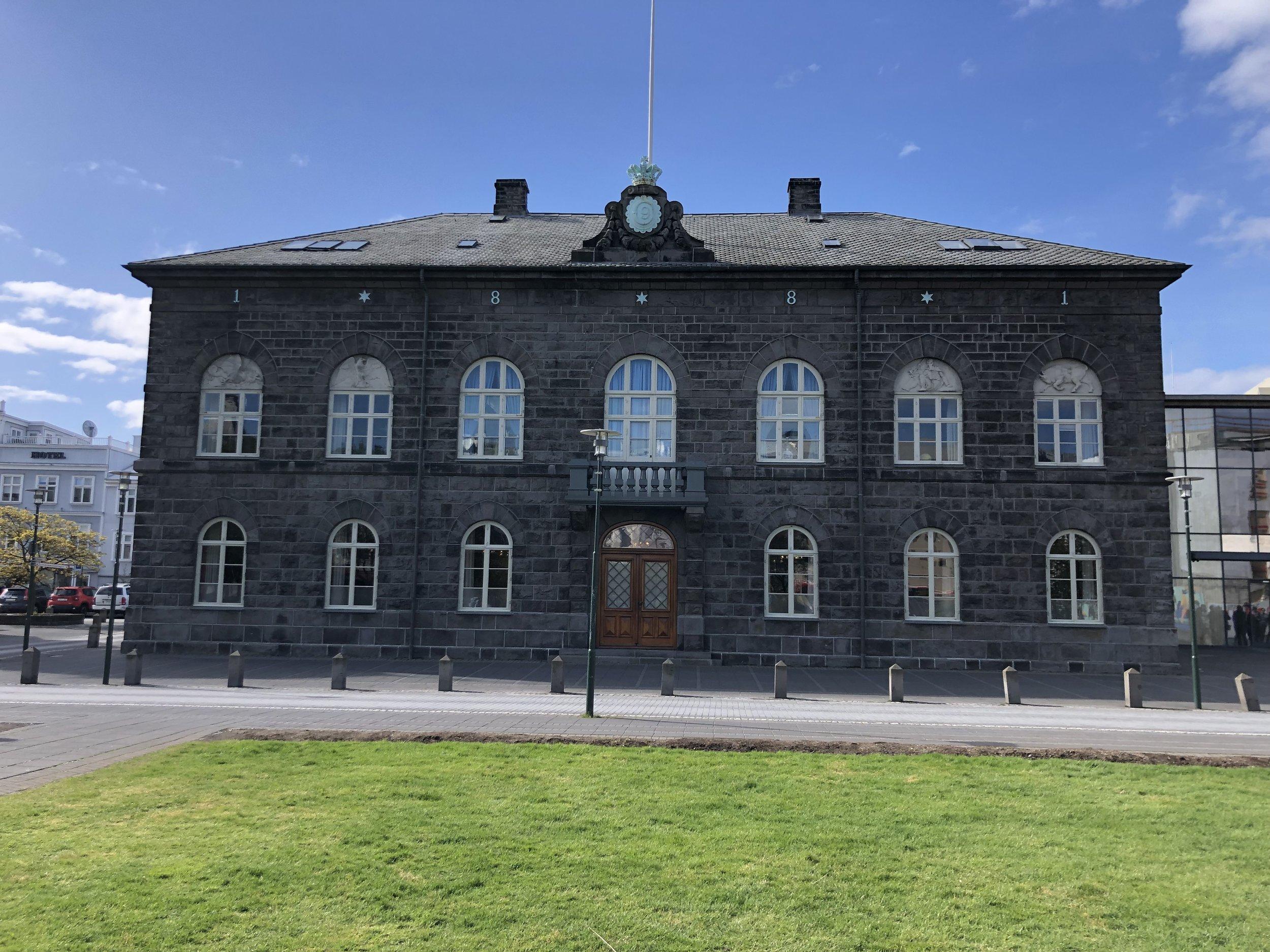 Icelandic parliament building in Reykjavik.
