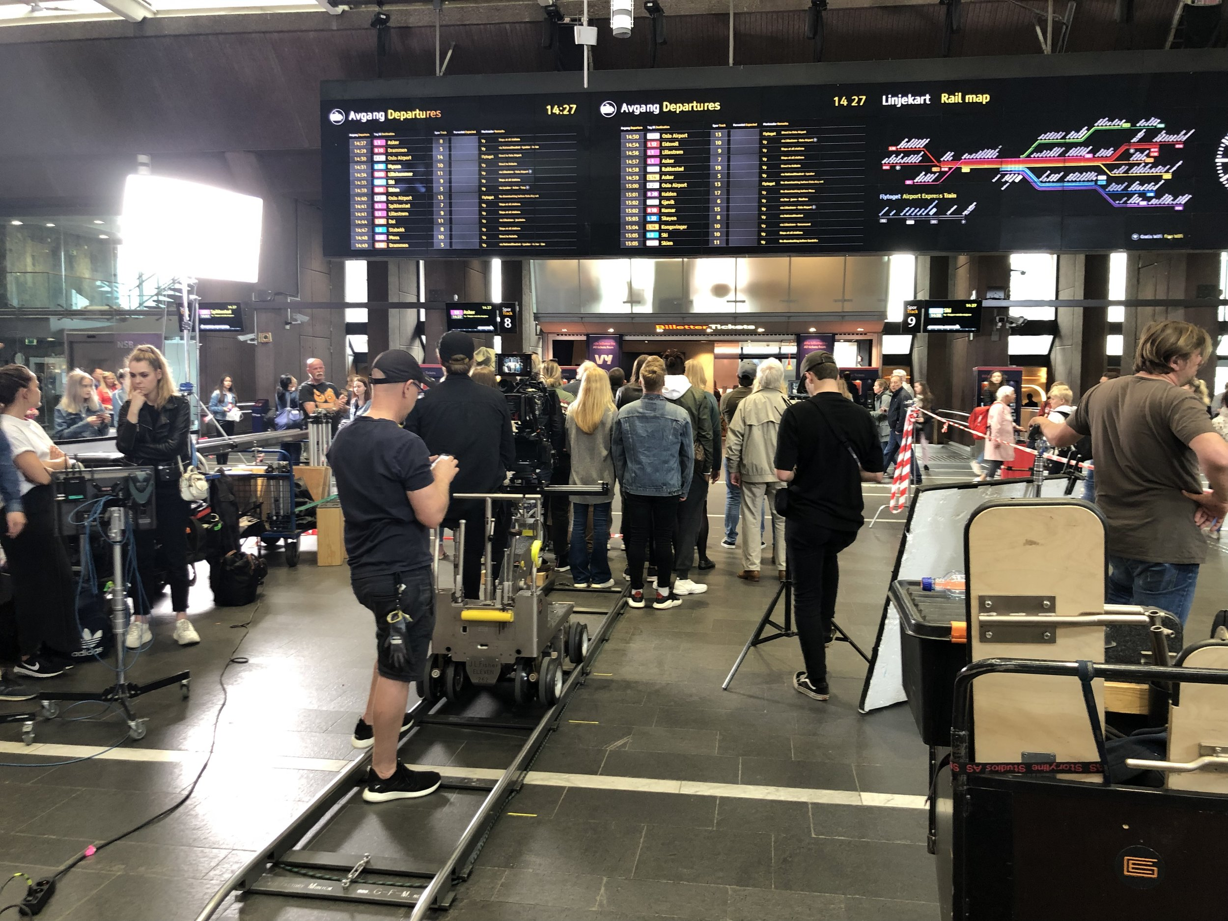 Upon our arrival at the Oslo Central Train Station, we were greeted by a crew filming a scene for a movie. They were trying to capture a crowd of people looking up at the monitors listing the scheduled train arrivals/departures. I was not asked to be in the movie, bummer.