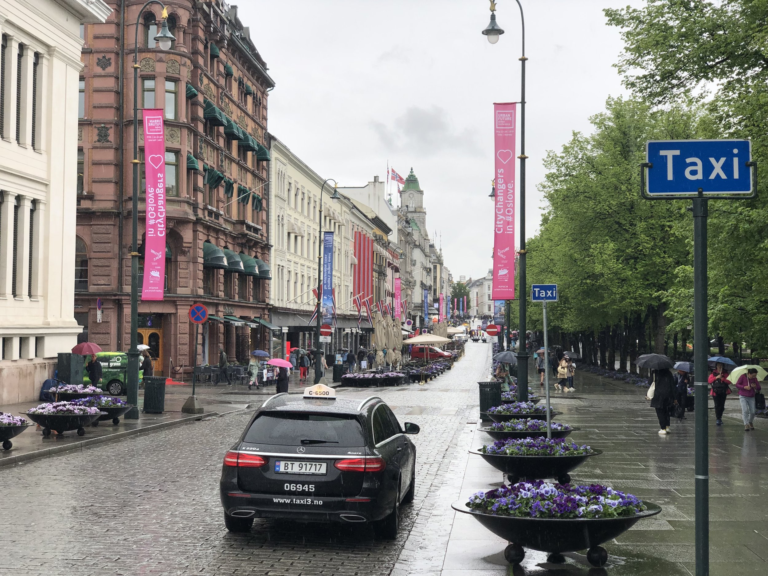 Colorful street in Oslo the was lined with lots of trees and flowers.