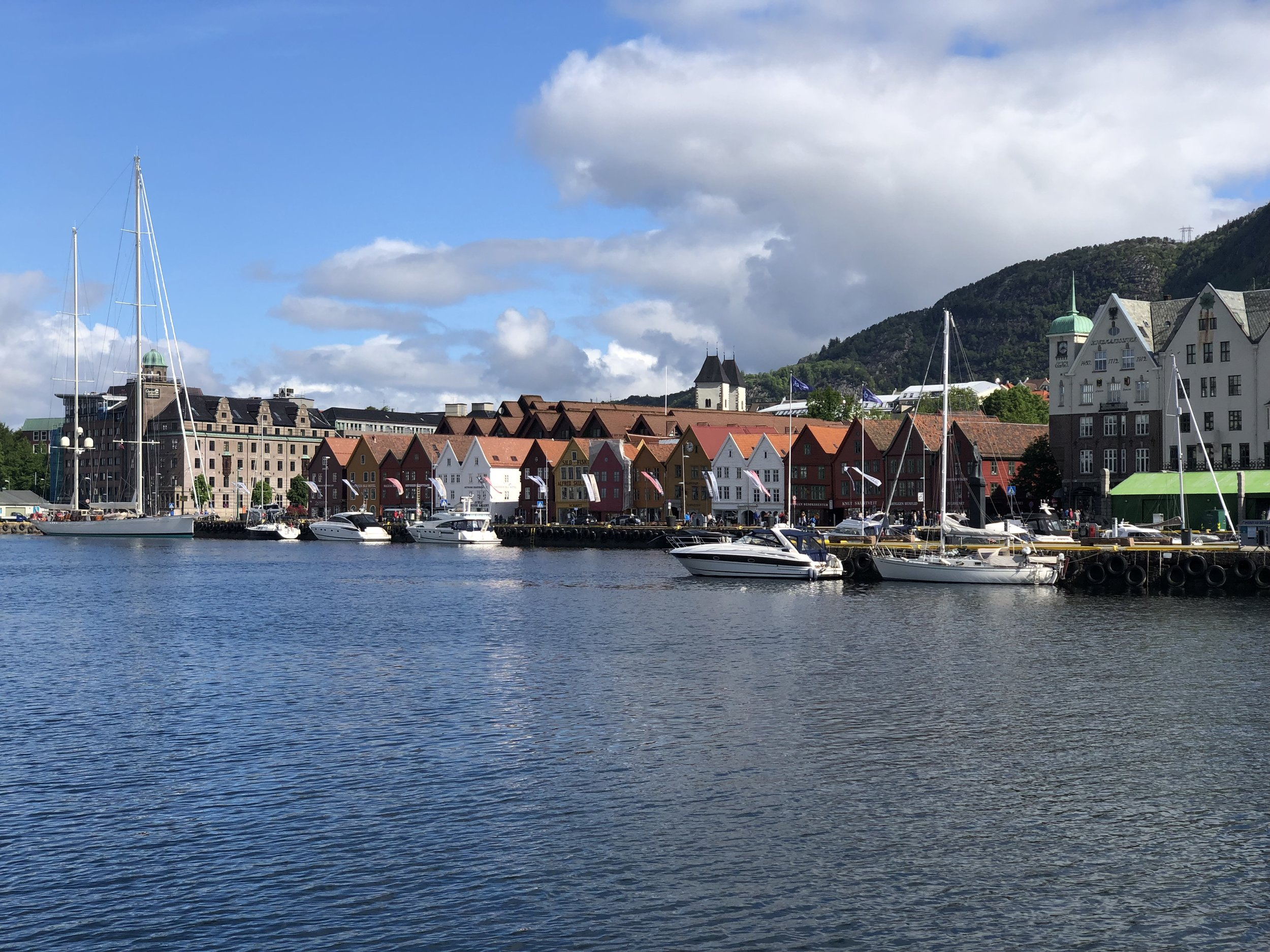 After Oslo, we took the train over the mountains to Bergen, which is in a fjord on the west coast. This is a photo of the Bergen harbor.