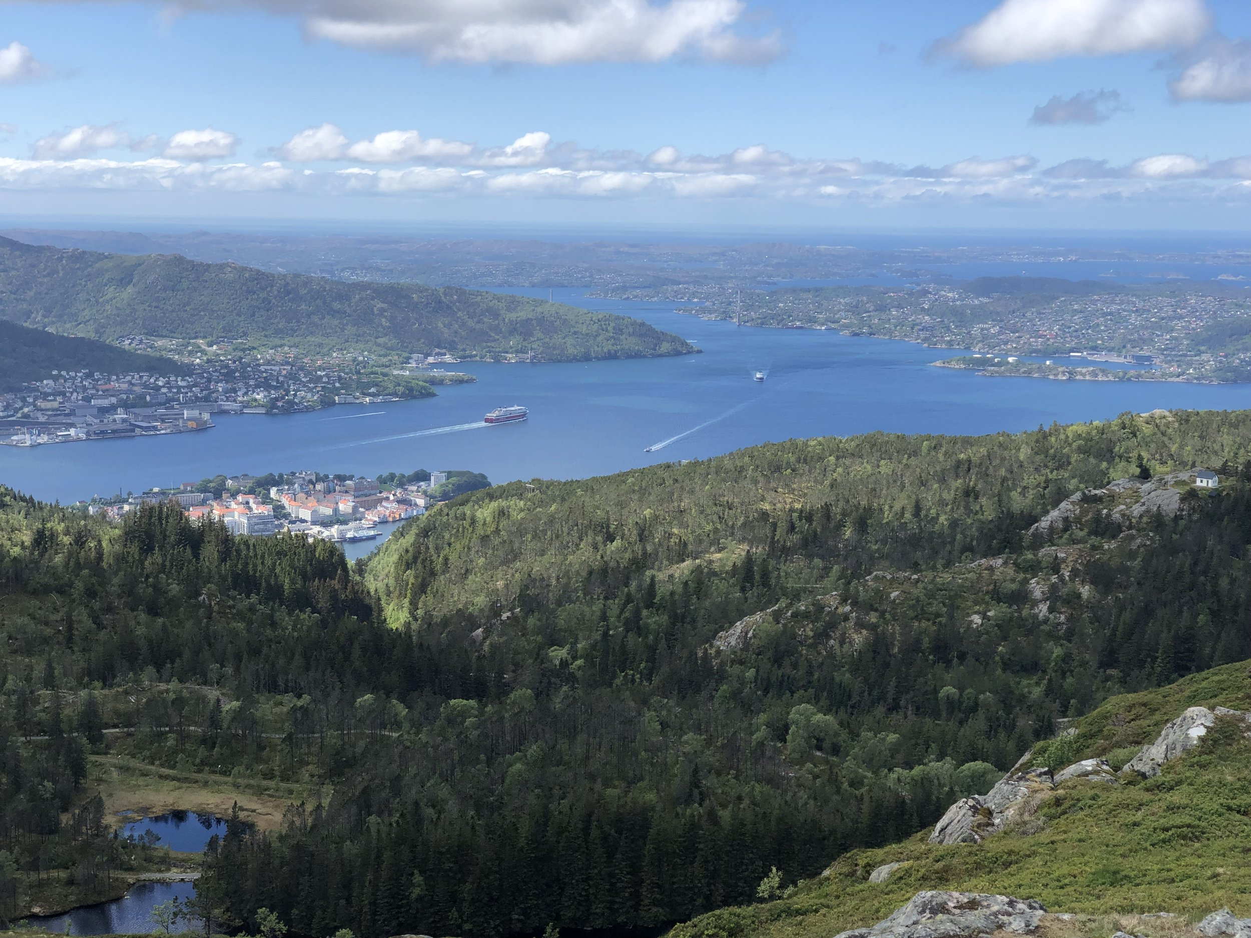 I took a hike around a mountain overlooking the city where I came upon this view of Bergen and the fjord.
