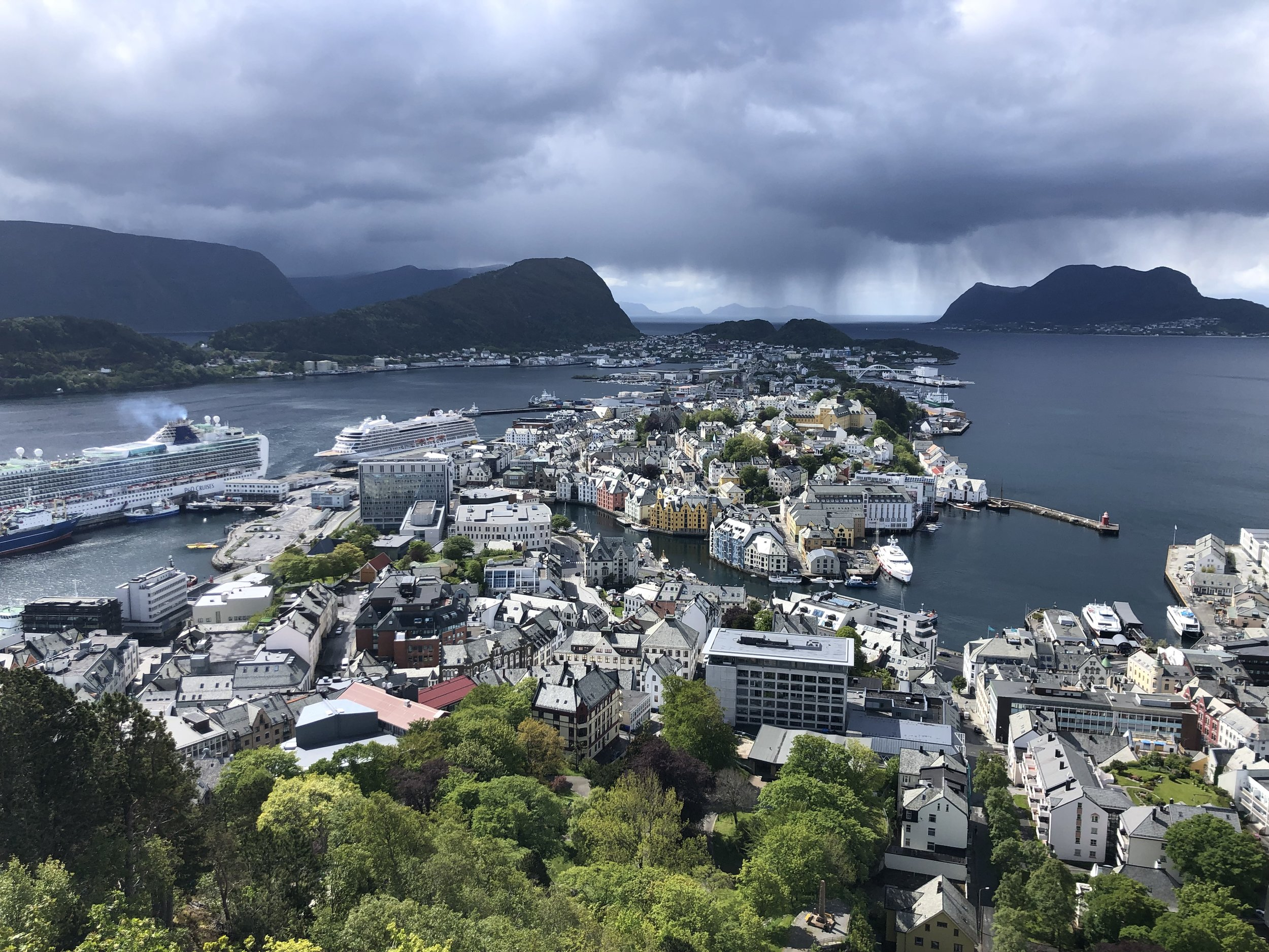 This photo was taken from the hill overlooking Alesund, where the ferry dropped us off.