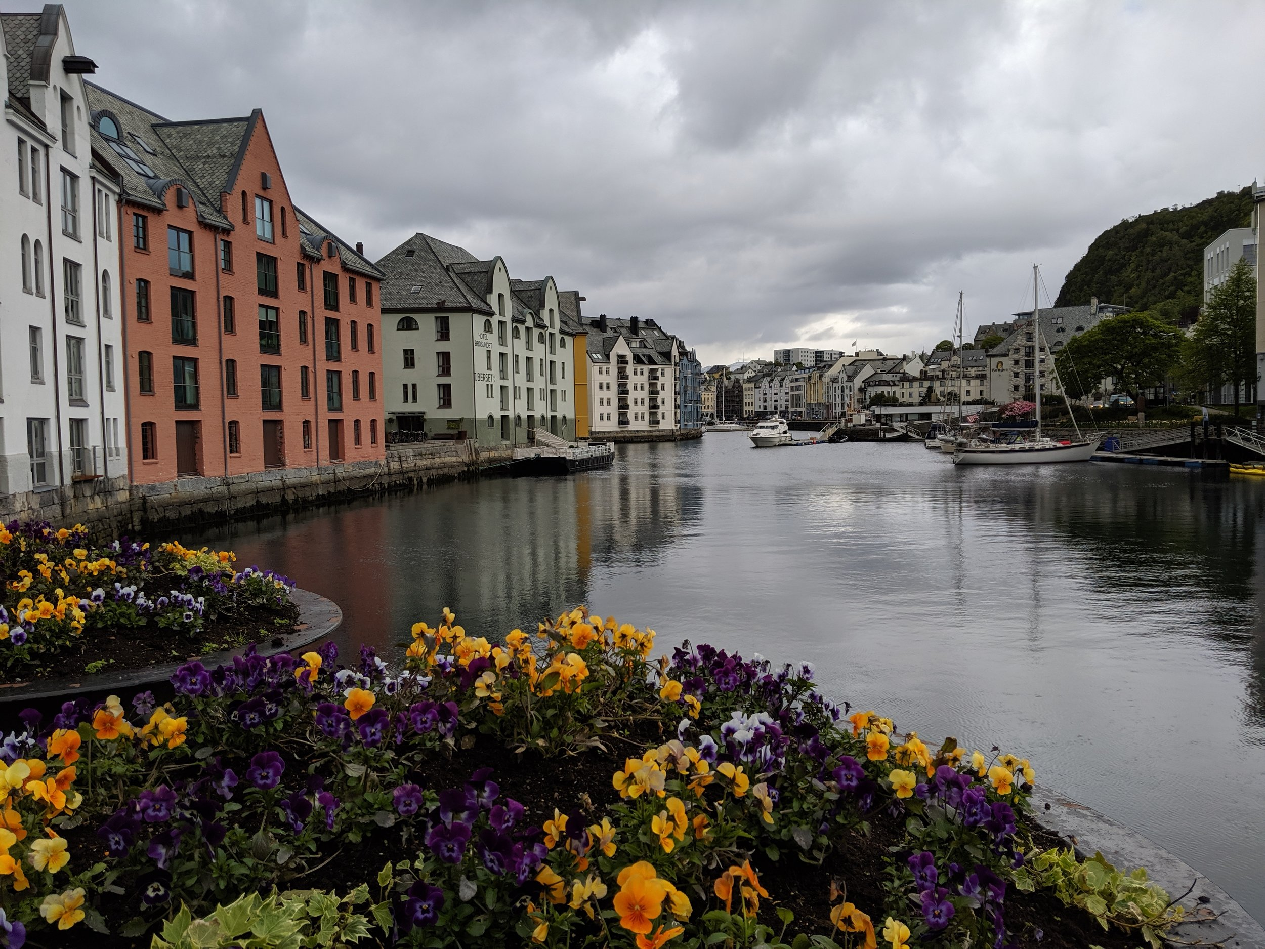 An inlet in Alesund where the houses were built right up to the water's edge.