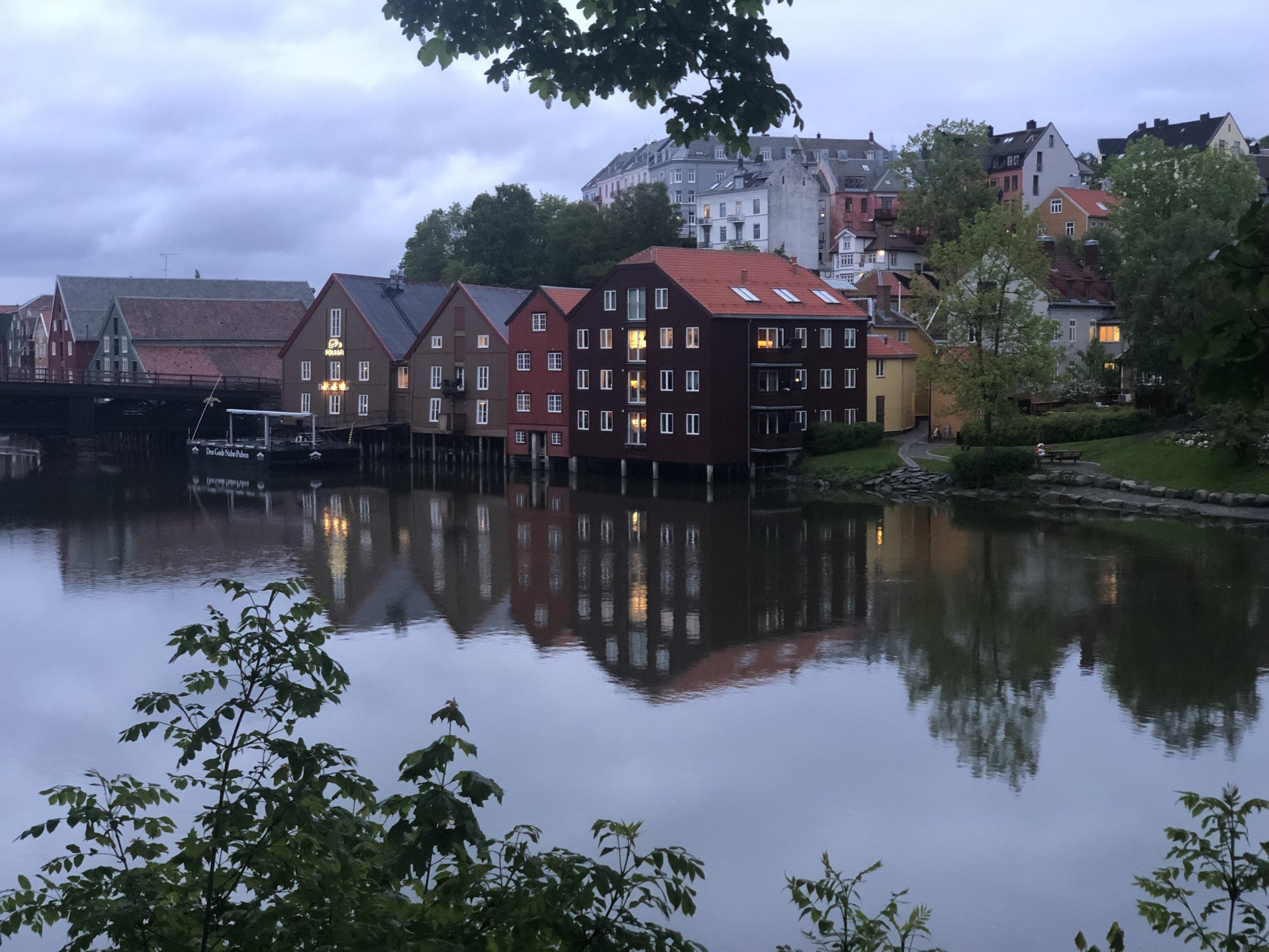 Trondheim is another city along the western coast of Norway at the end of a long fjord. In the photo is the building where we rented an AirBNB. It is the darker building across the river built on pilings.