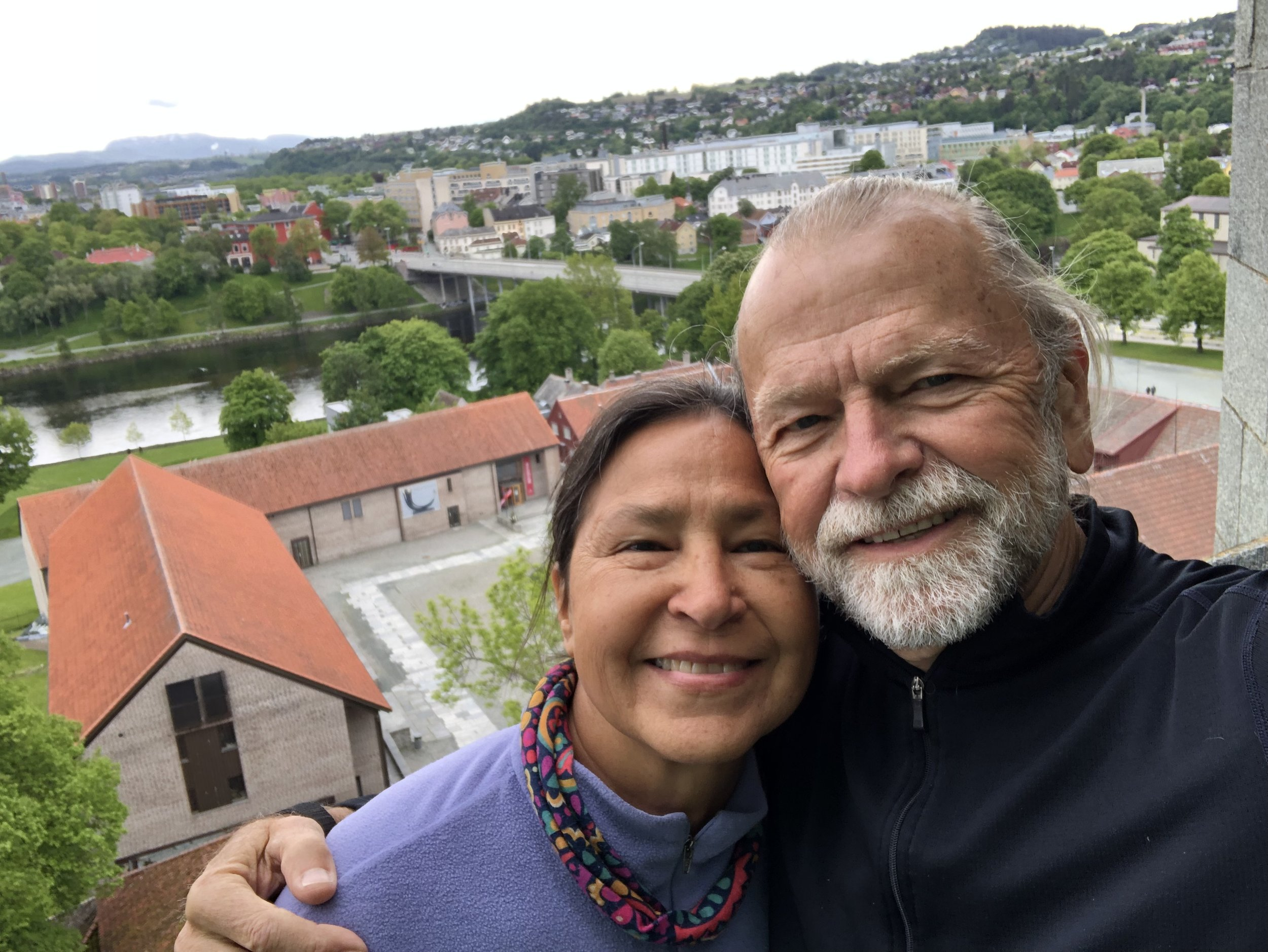 Selfie of Alena and I while on the tour of the church's tower.