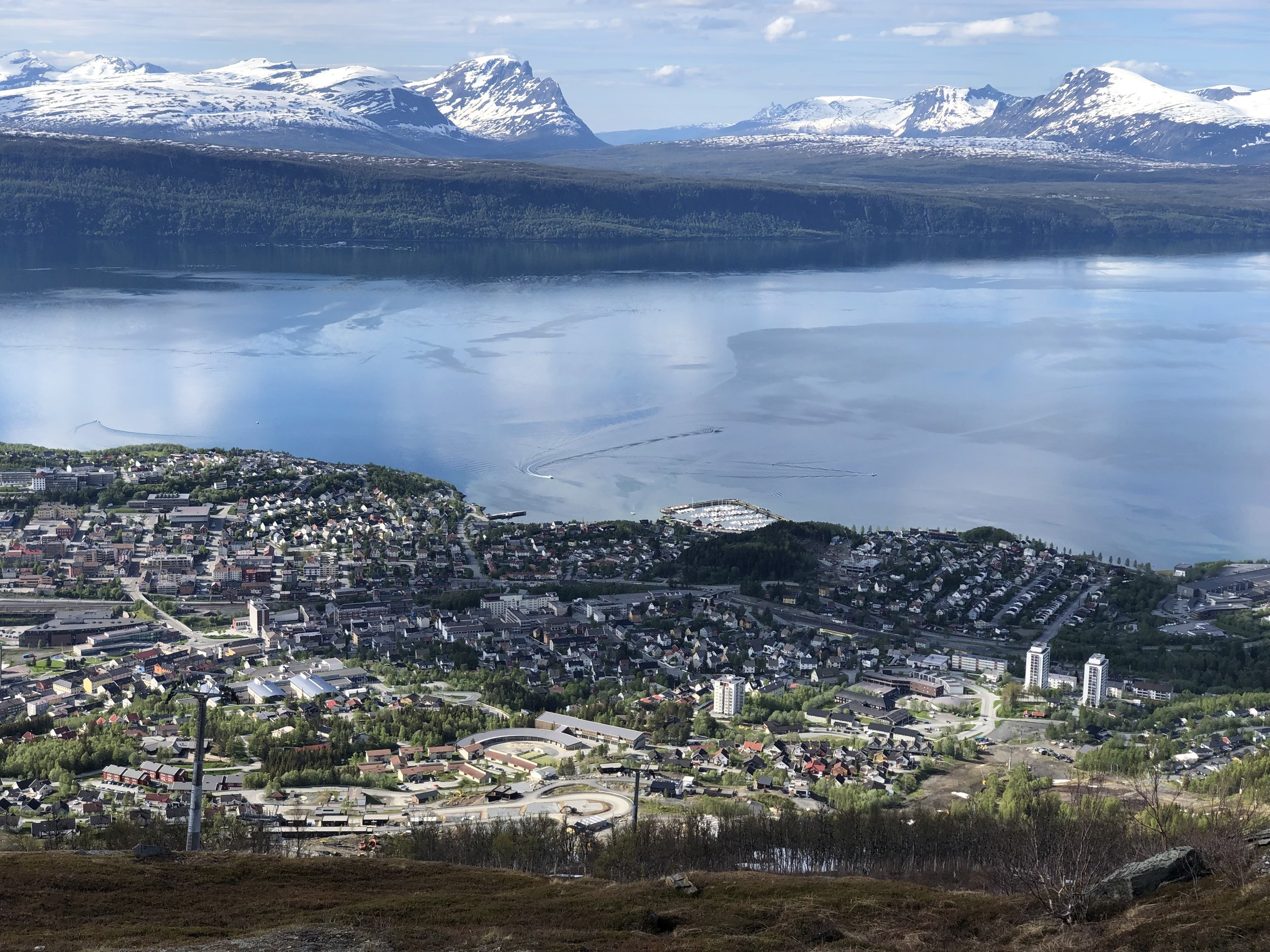 Photo of looking down at Narvik and across the fjord.