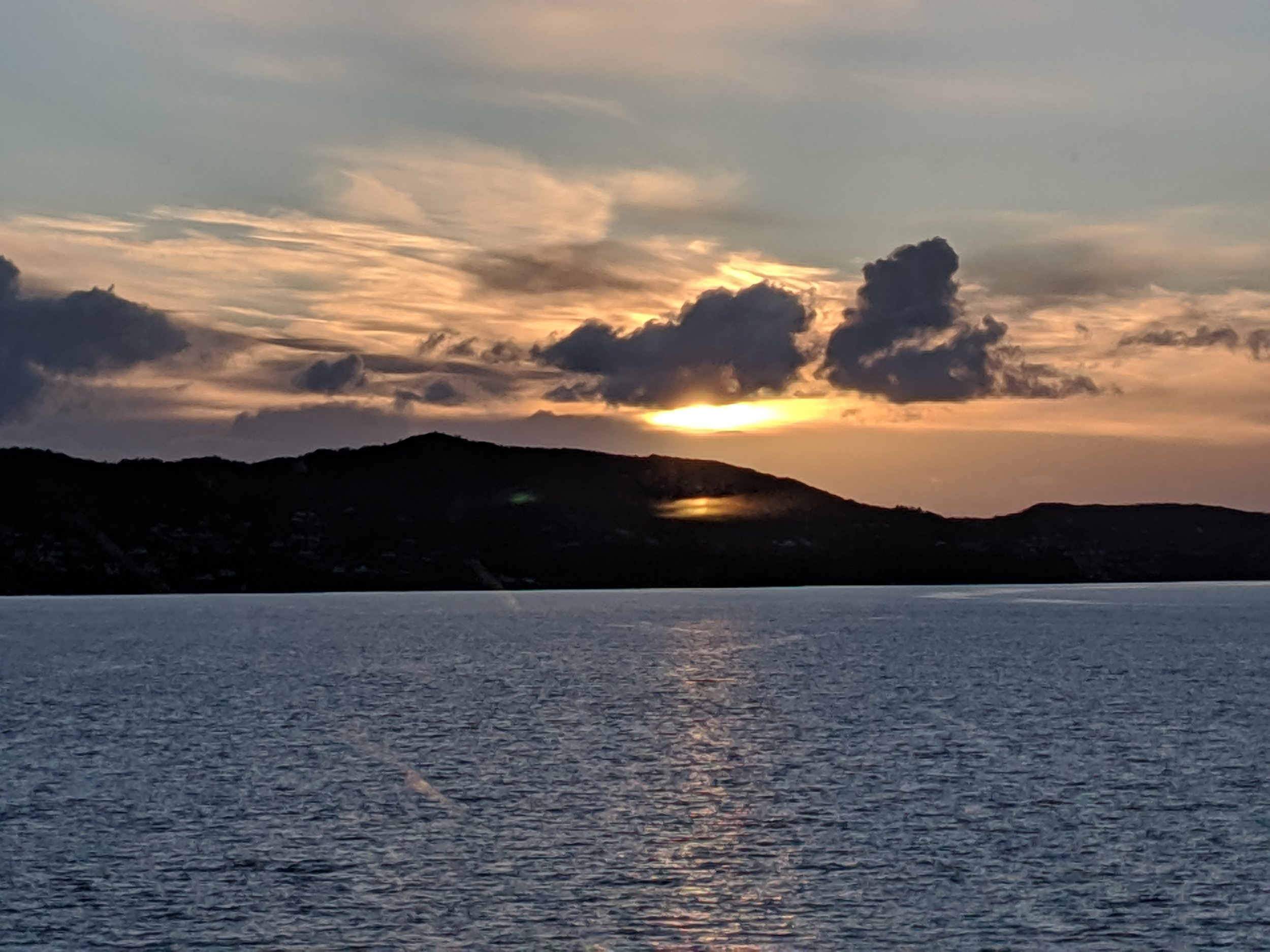 Sunset from the ferry as we left Bergen on our up the coast way to Alesund.