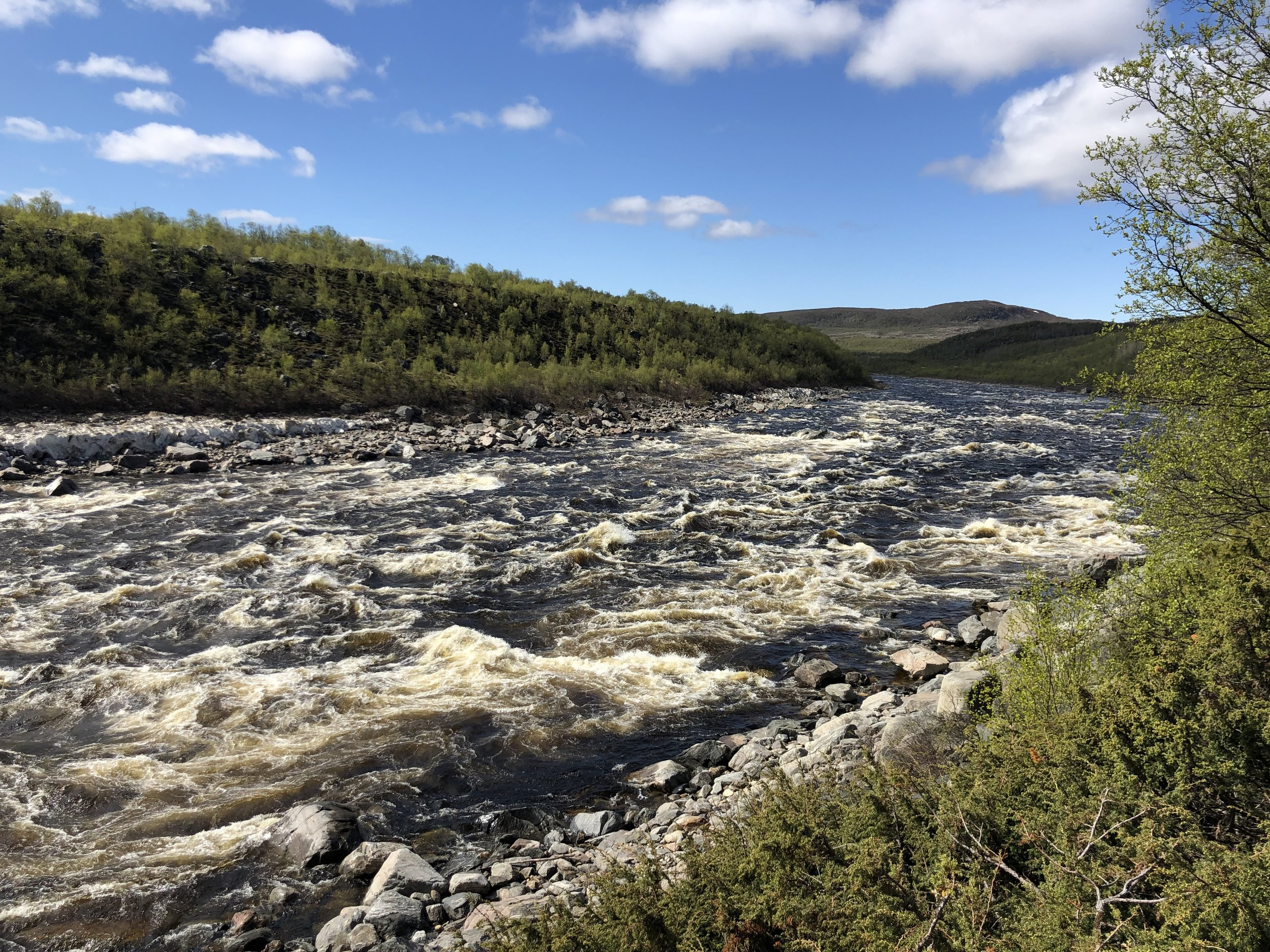 After spending a few days in Finland we decided to head north back into Norway and spend a night in Vardo on the Arctic Ocean. To get to Vardo we followed the Tana River which forms the border between the two countries.  In addition to wild rapids the Tana is also know for its great salmon fishing.