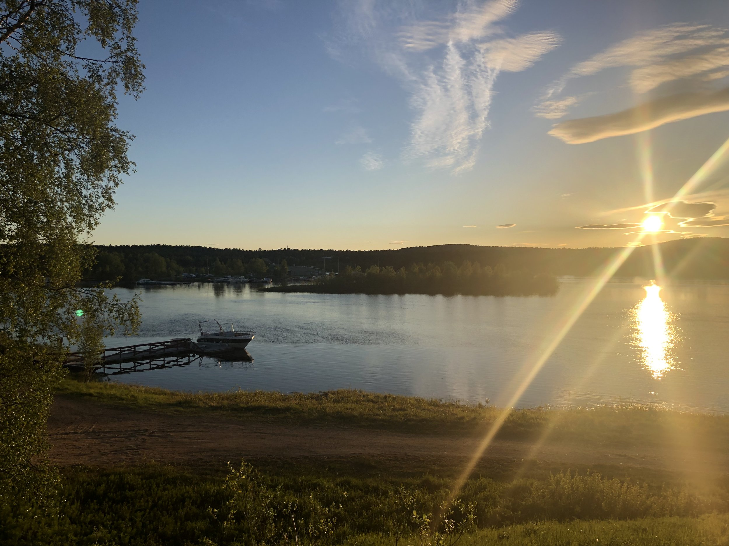 Photo of the sun taken at midnight in Inari. It was bright enough to do about anything you would normally do during the daytime. In this part of Finland the sun does not set between May 22 and July 22.