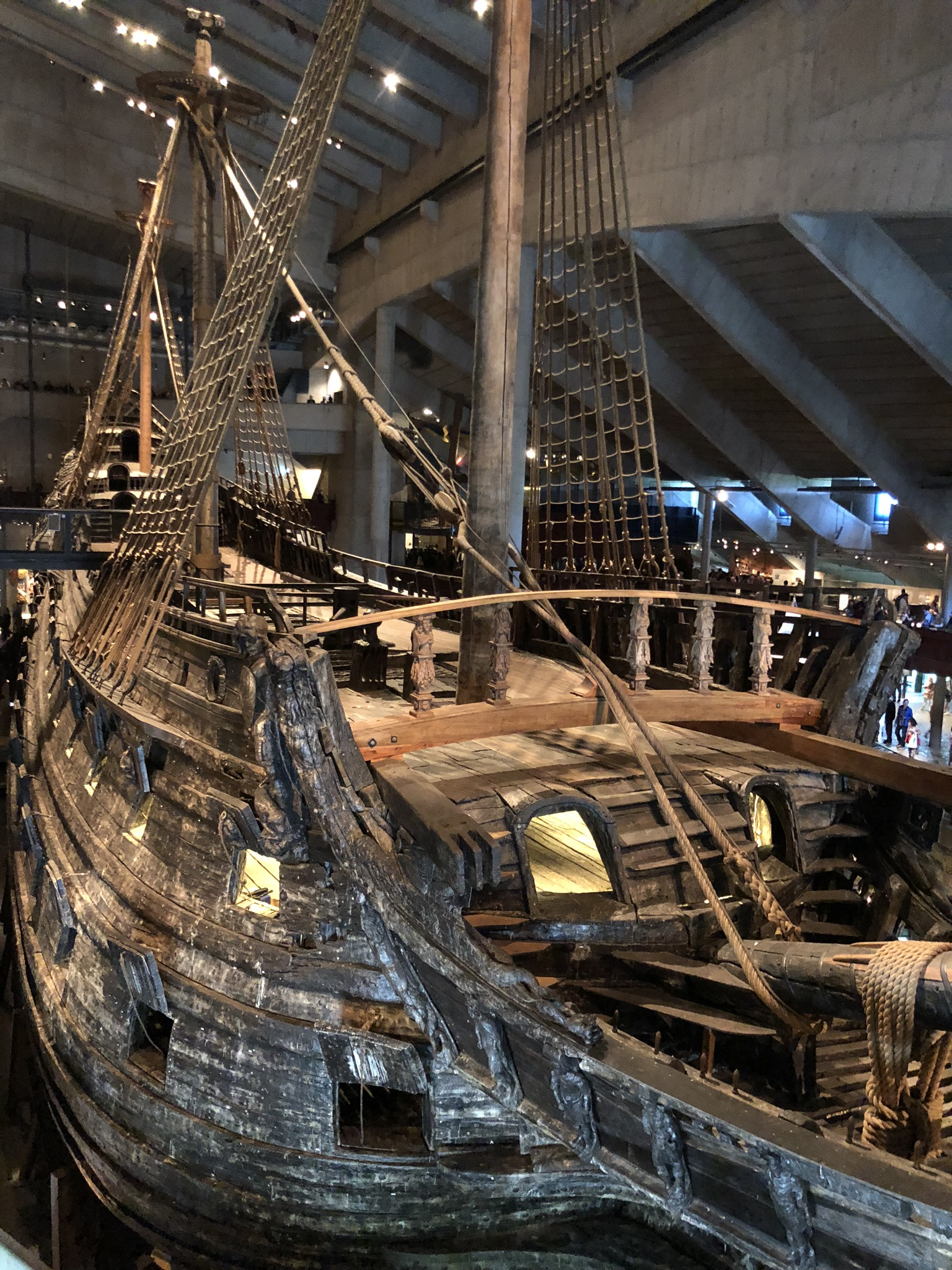 The Vasa Museum is home for one of the most interesting displays we have seen. The museum houses an absolutely enormous wooden ship named Vasa built around 1620. The Vasa was intended to accomodate over 400 crew members. And it is in remarkable condition due to the unusual circumstance of its sinking in Stockholm Harbor on its maiden voyage. As it sailed out of the harbor it listed to one side and sank in 30 meters of water. The waters of the cold Baltic sea preserved the wood in remarkable condition until 1960s when it was raised, restored and placed in the museum.  To add insult to injury, the top of the main mast, which was around 100 feet tall, stuck out of the water to remind the shipbuilder that his creation had sunk before it left the harbor.