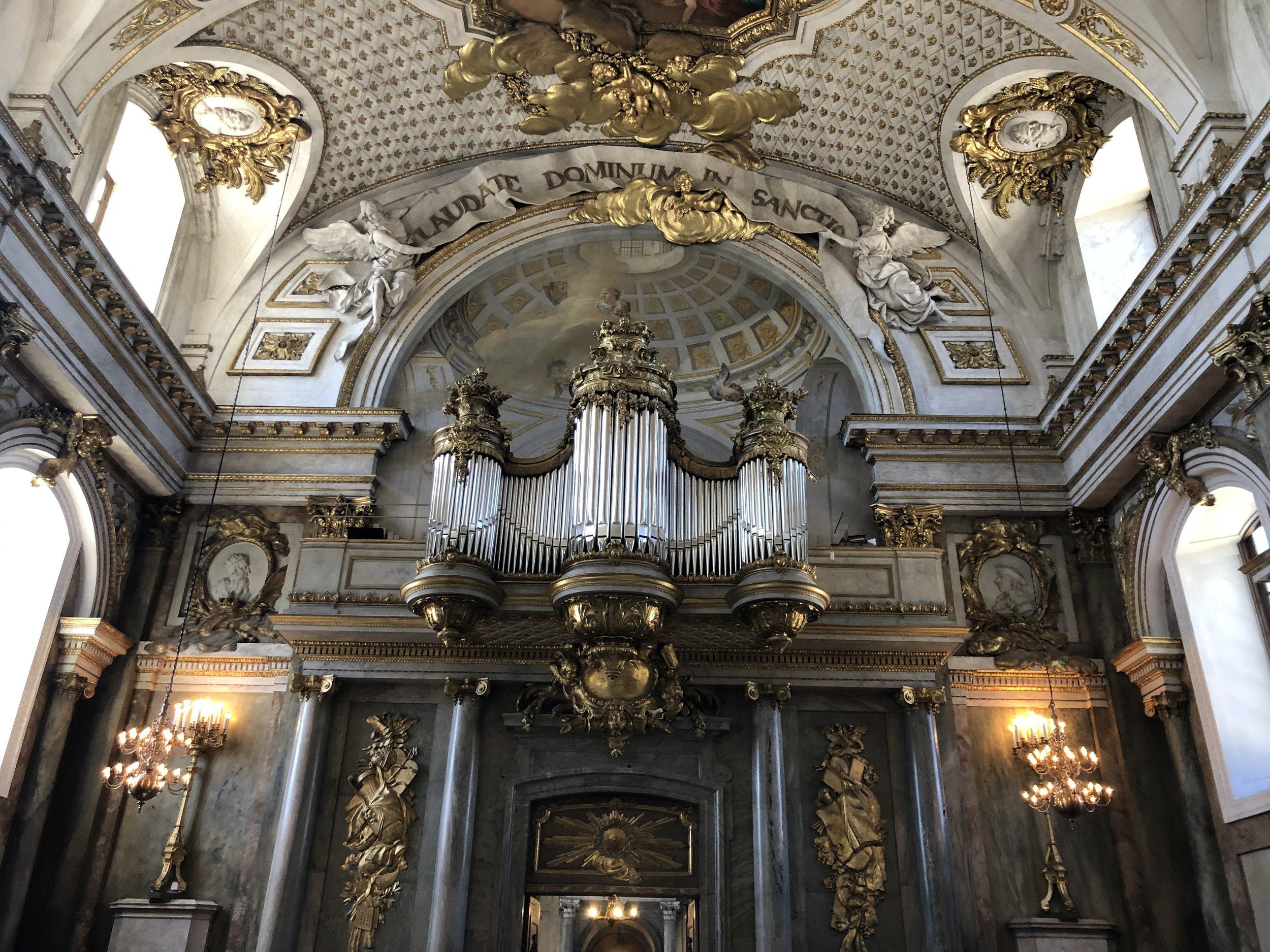 Beautiful hanging pipe organ in the church.