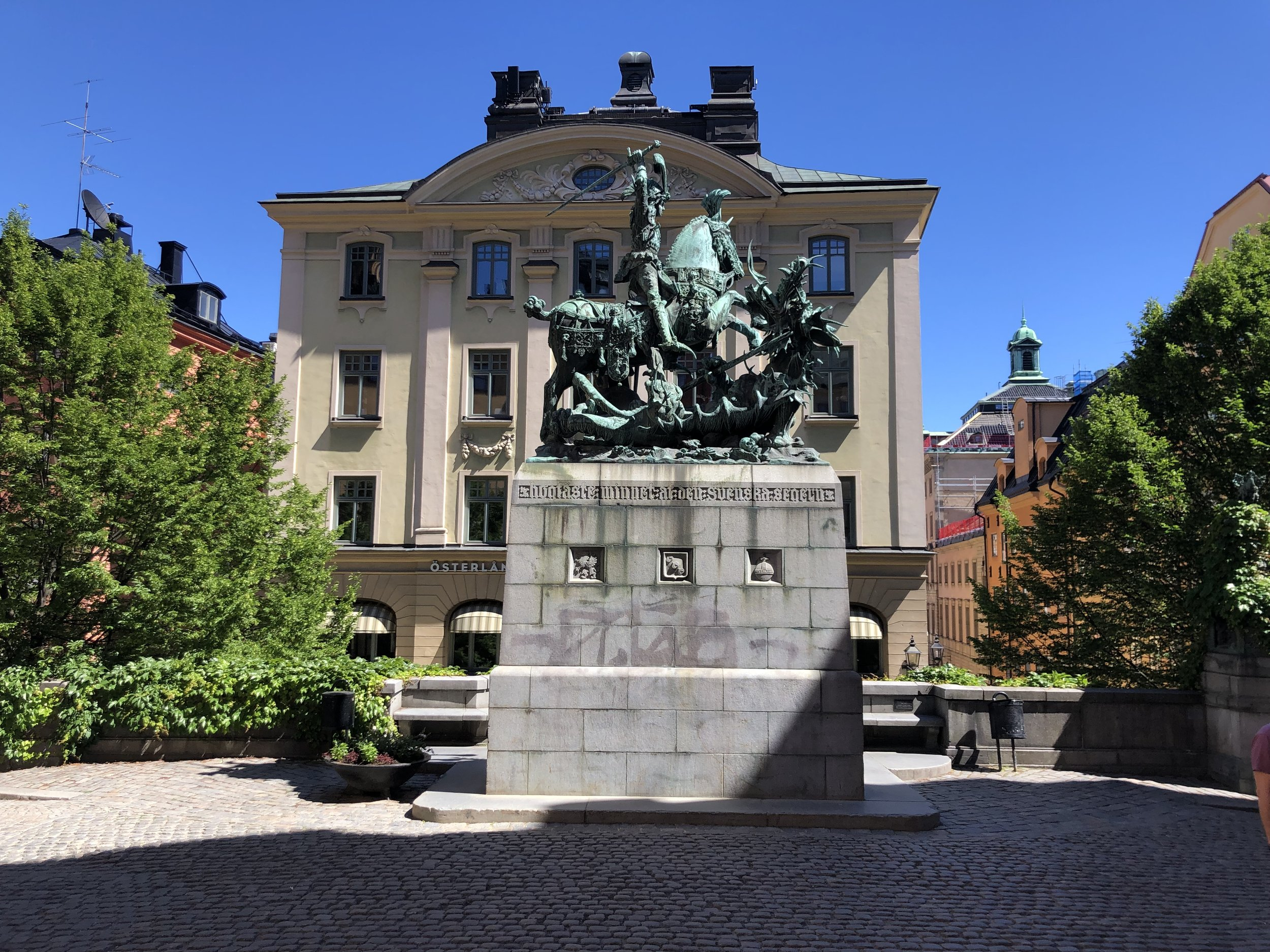 Statue of St George and the Dragon in Gamla Stad.