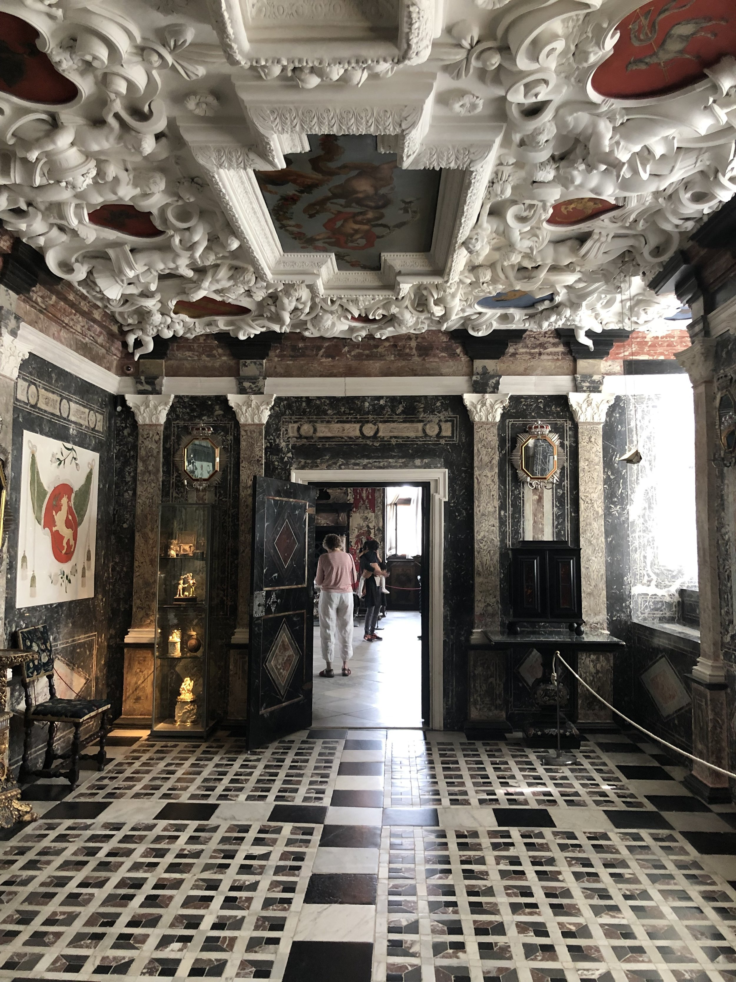 Just one of the many rooms in the palace that was intricately decorated with art work from floor to ceiling.