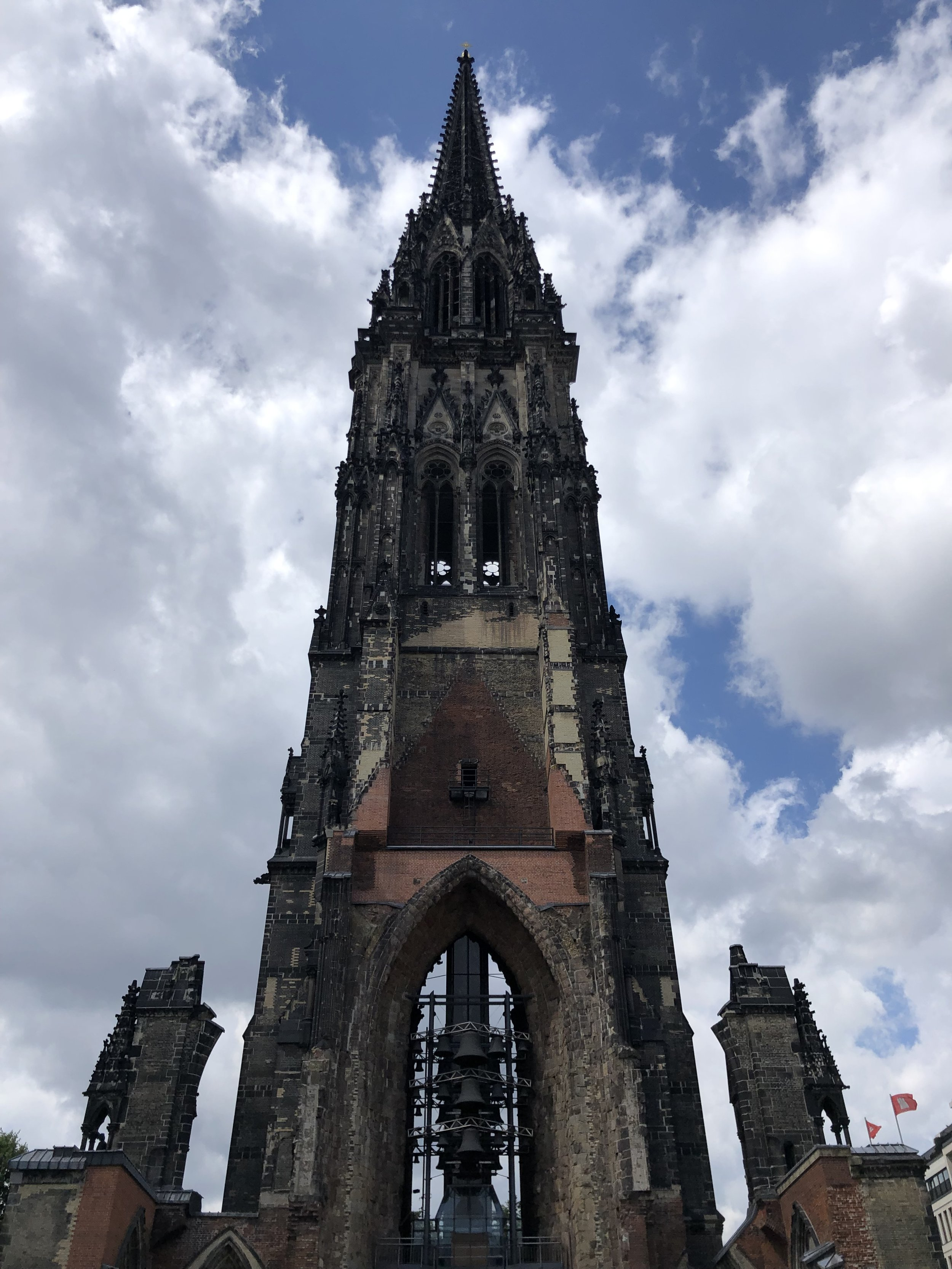 Near the Warehouse District is this shell of a bombed out church, which was the first significant memorial to the war years we visited. Hamburg was one of several German cities that were largely destroyed by fire or bombing.