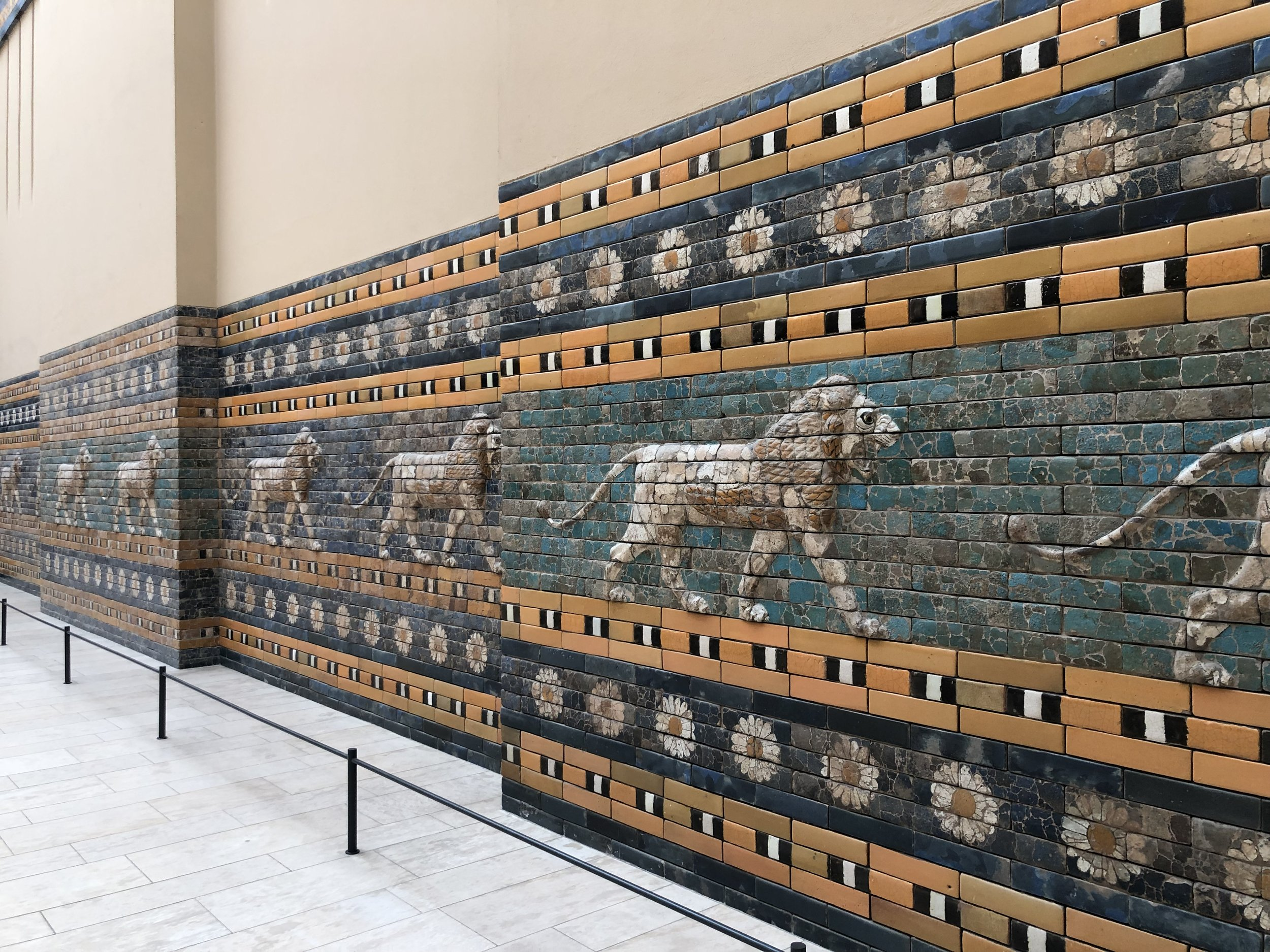 Inside the Pergamon Museum is one of the most fantastic things I have ever seen. It is the Ishtar Gate which served as one of the entrances to the inner city of Babylon. When archaeologists discovered the bricks that mad up the gate, they were just a pile of rubble broken into fragments. These fragments were subsequently pieced back together to recreate many of the bricks that formed the original structure. If you look closely at this photo, you can see that many of the bricks were pieced together this way. The other unbroken brisks were recreated based upon the designs.