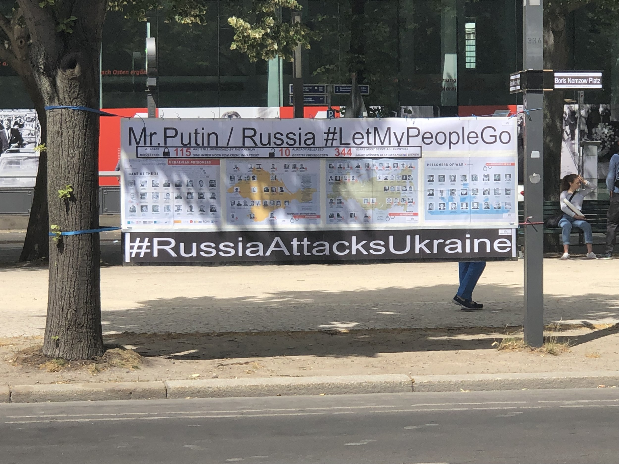 Across the street from the Russian Embassy was this protest sign.