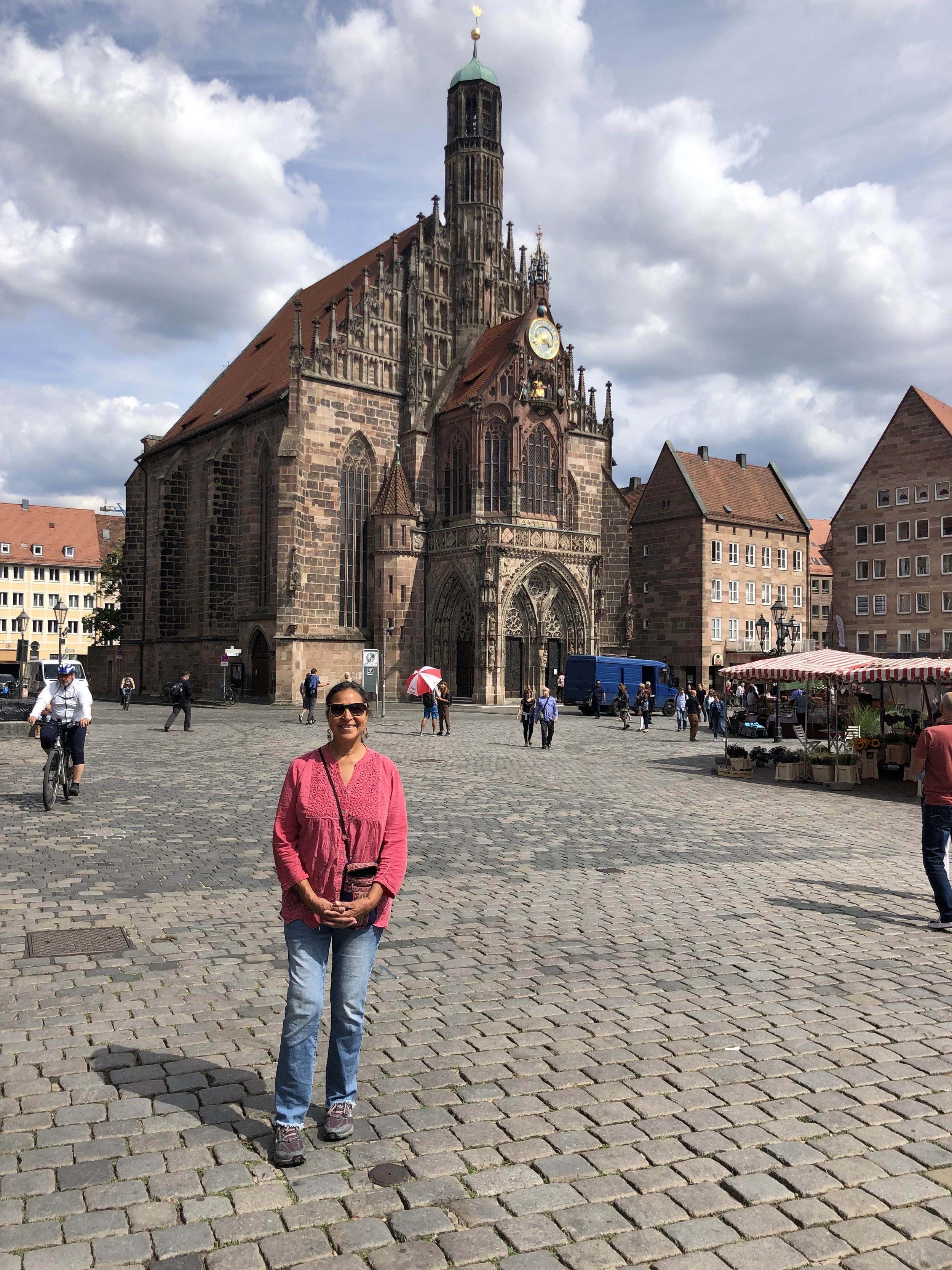 Nurnberg was an especially nice city with lots of things to see and do. Here Alena is in the main plaza of the old city in front of an Catholic Church that is hundreds of years old.