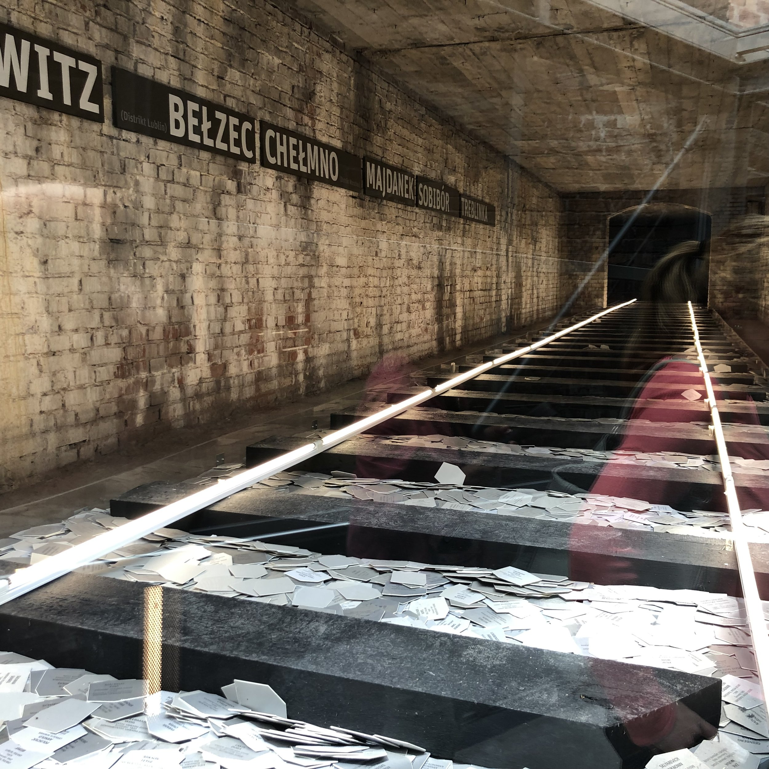 This photo is of a very poignant memorial at the Document Museum it depicts rail lines used to haul Jews and other enemies of the state to the concentration camps. On each card is the name of a person who was murdered by the Nazis. The inscription on the memorial said that there were 30,000 cards representing 30,000 people, which is just a small percentage of the six million Jews who were murdered.
