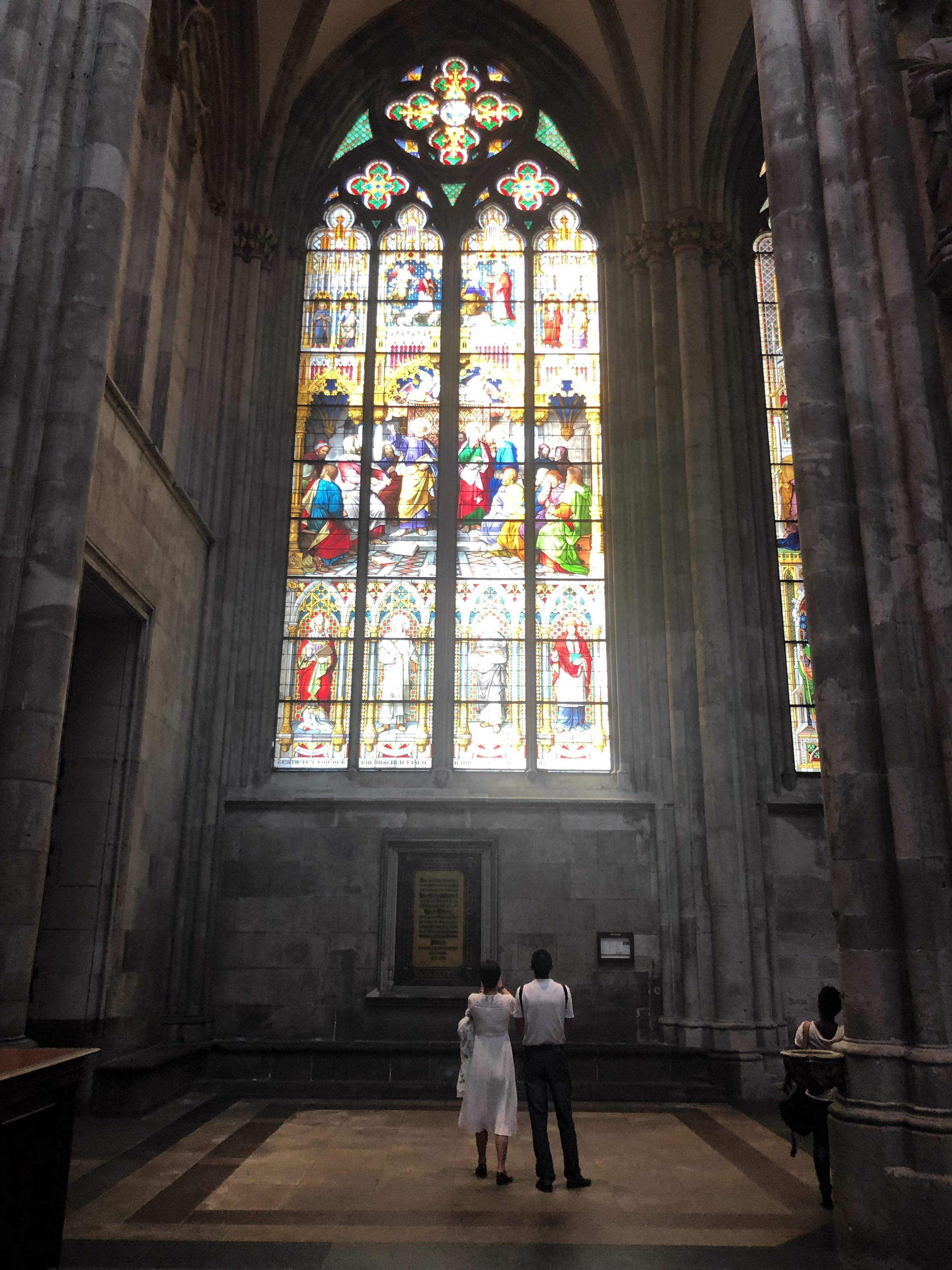 Inside the Cologne Cathedral I found this couple in awe of one of the enormous stained glass windows. This cathedral was the most impressive we came across during our travels.