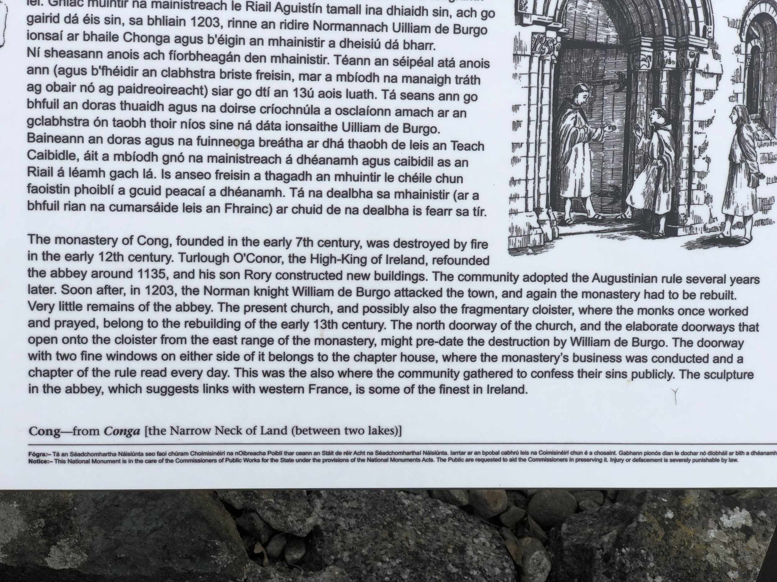 The inscription on this plaque outlines the history of the monastery in Cong, which is typical of the ones we visited during our travels.