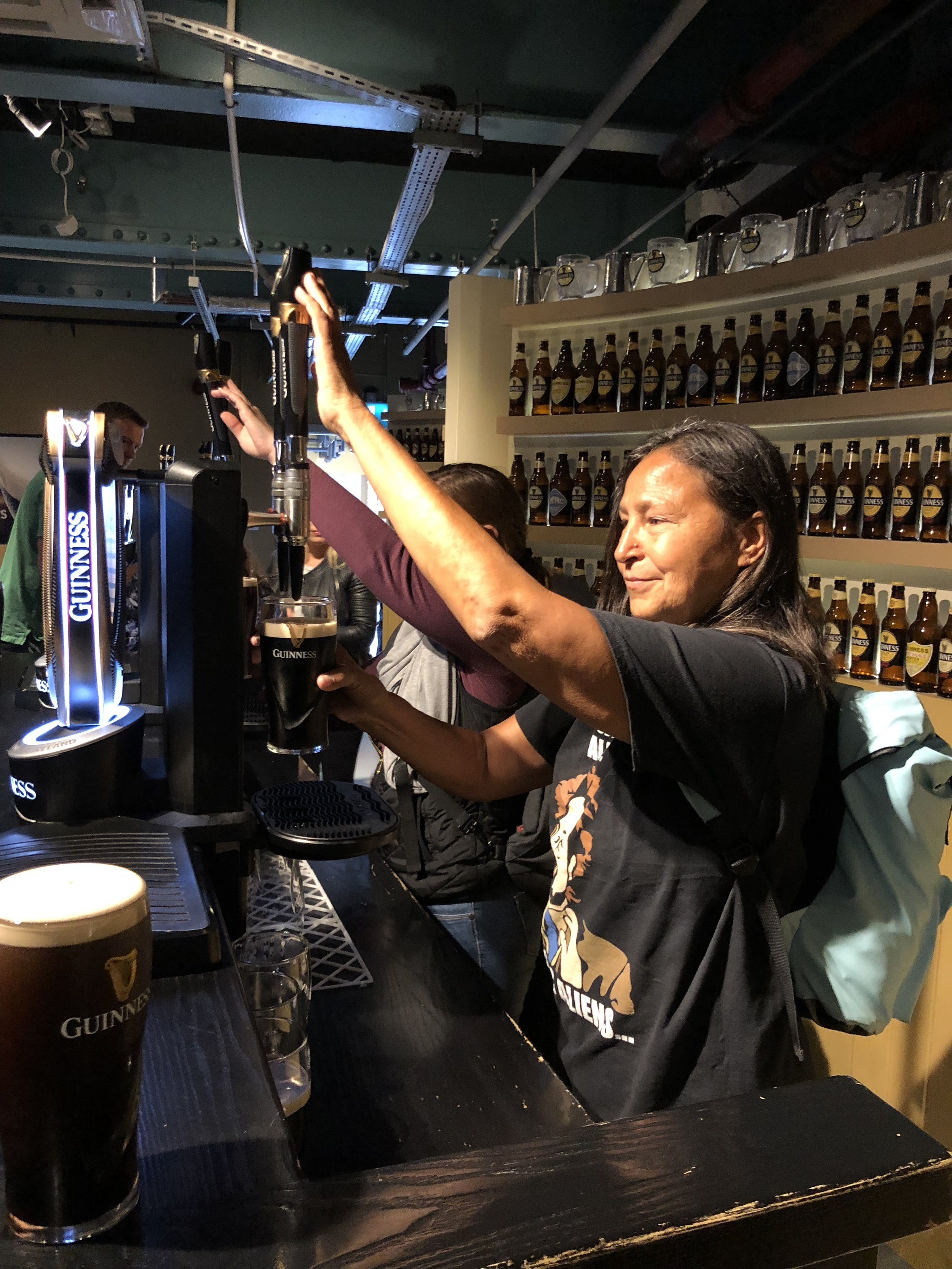 During our tour we were shown how to pour the perfect glass of Guinness. The instructor told us that if not done correctly, the taste will be somewhat diminished. After pouring a perfect pint, we were allowed to taste test our work.