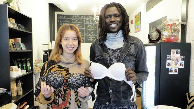 Jal Gua Organic Cafe bra donation   Justin Skinner/Metroland   Cari Flamnia (left) and Emmanuel Jal are holding an event to collect bras for human trafficking victims in developing nations.