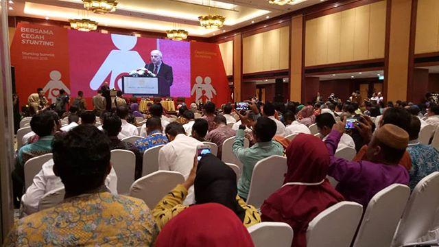 Duta Besar Amerika untuk Indonesia, H.E. Joseph R. Donovan Jr, memberikan sambutannya pada acara Stunting Summit yg diseleenggarakan di Hotel Borobudur, Jakarta, 28 Maret 2018. #cegahstunting #sadarstunting #stuntingsummit #bundaharuspaham