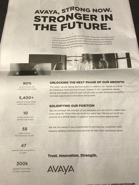 Odd ad to place in the WSJ on the day after bankruptcy.