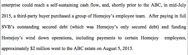 Company's Bankruptcy Disclosure Statement, filed 9/15/16.