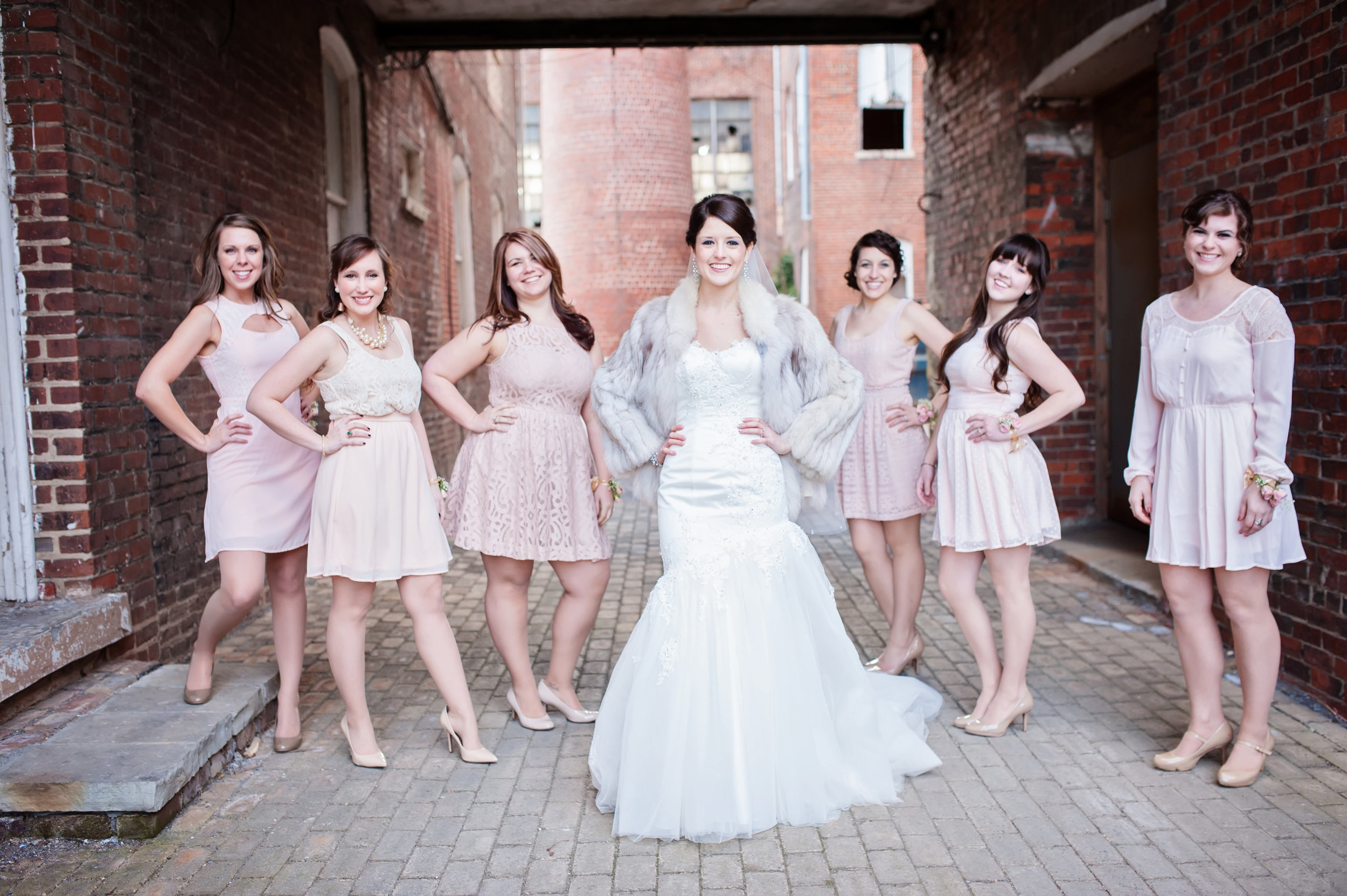 Bride and Bridesmaids at Industrial Glam Wedding at The Old Woolen Mill